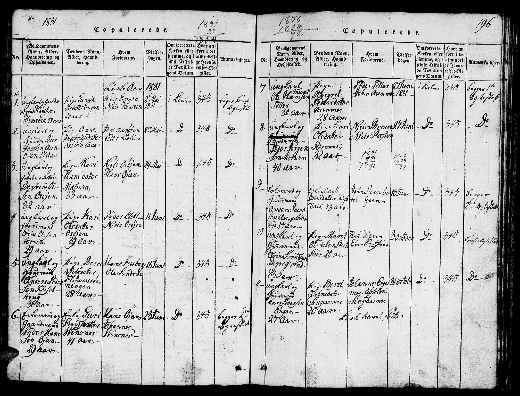 SAT, Ministerialprotokoller, klokkerbøker og fødselsregistre - Sør-Trøndelag, 688/L1026: Klokkerbok nr. 688C01, 1817-1860, s. 196