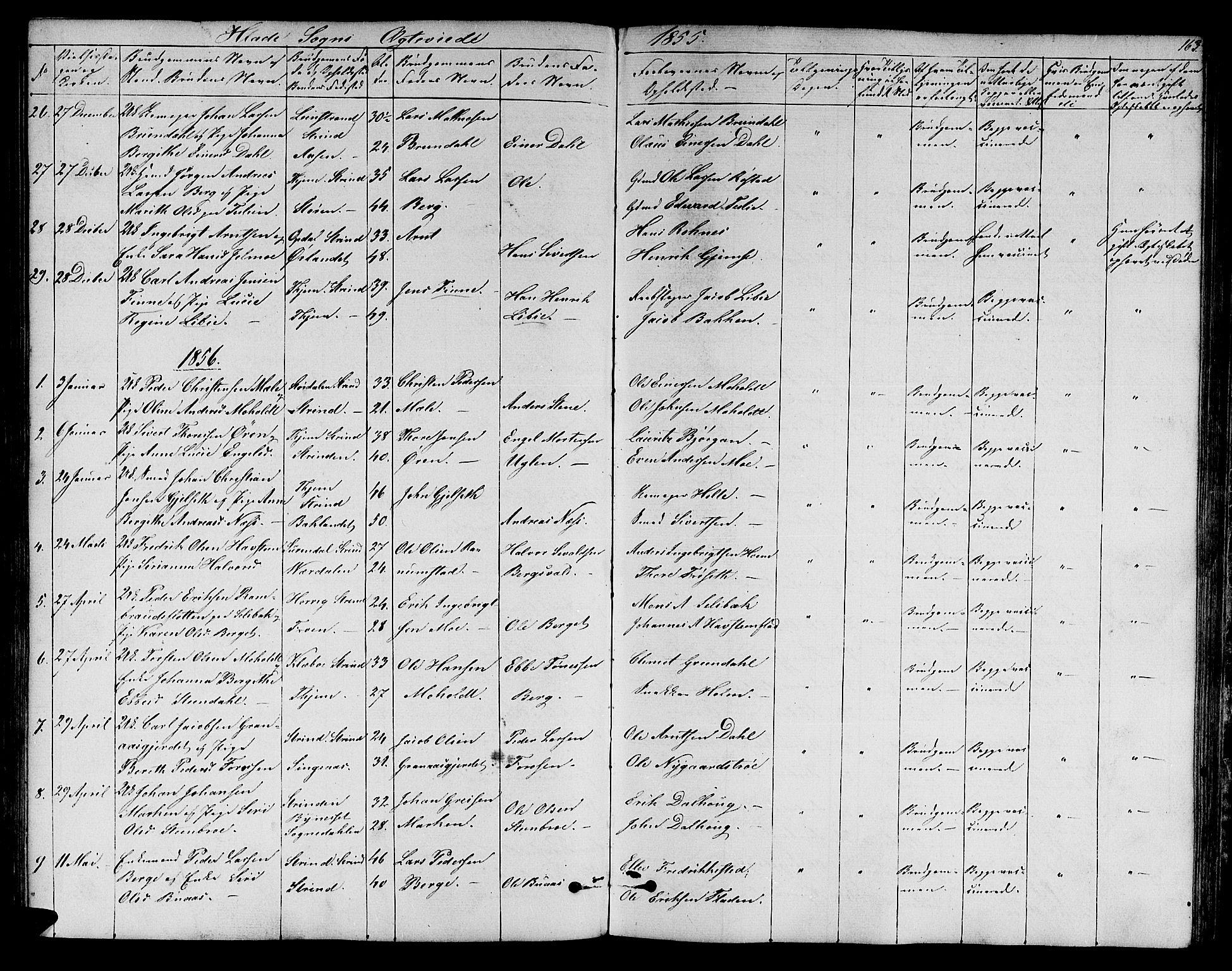 SAT, Ministerialprotokoller, klokkerbøker og fødselsregistre - Sør-Trøndelag, 606/L0310: Klokkerbok nr. 606C06, 1850-1859, s. 163
