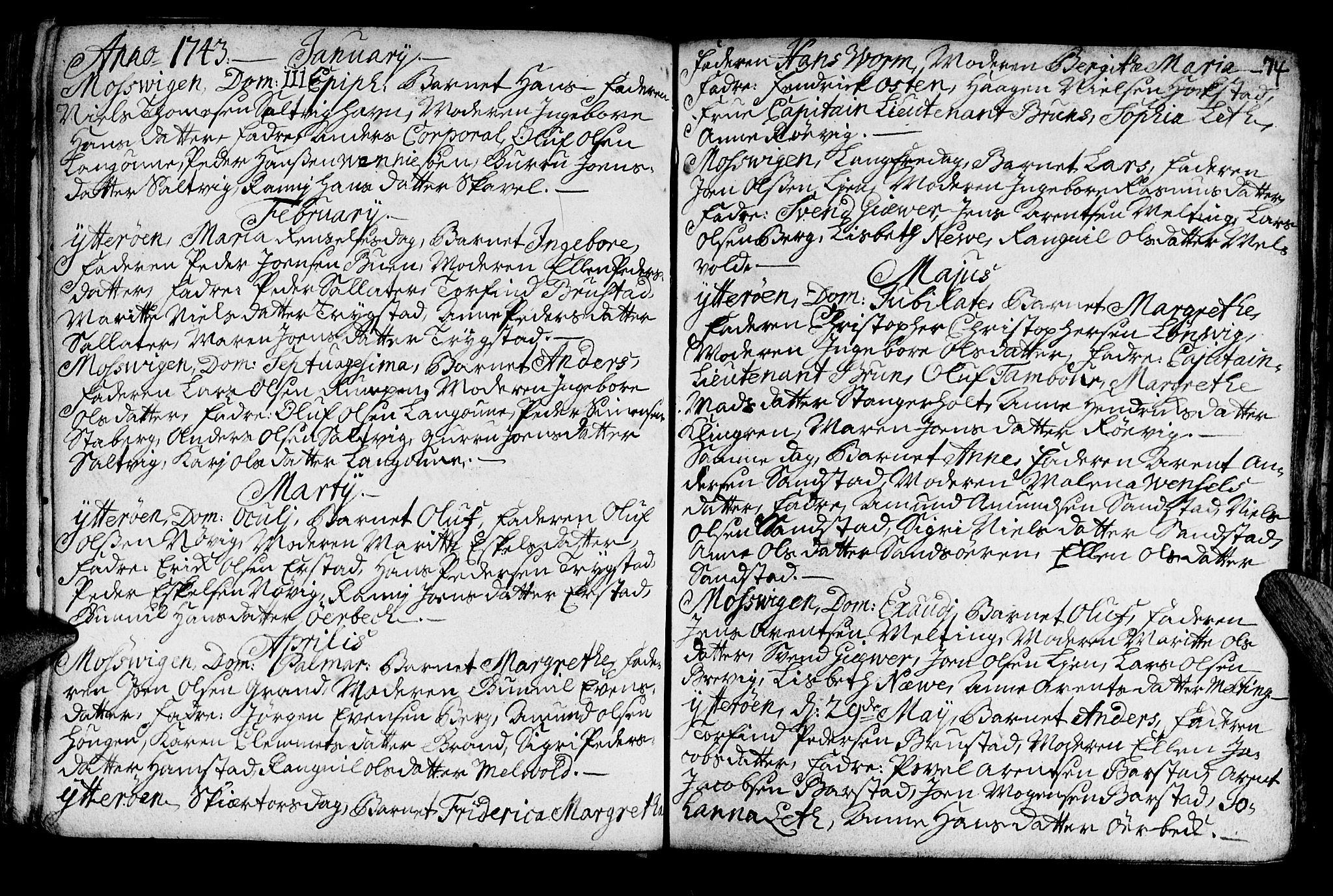 SAT, Ministerialprotokoller, klokkerbøker og fødselsregistre - Nord-Trøndelag, 722/L0215: Ministerialbok nr. 722A02, 1718-1755, s. 74