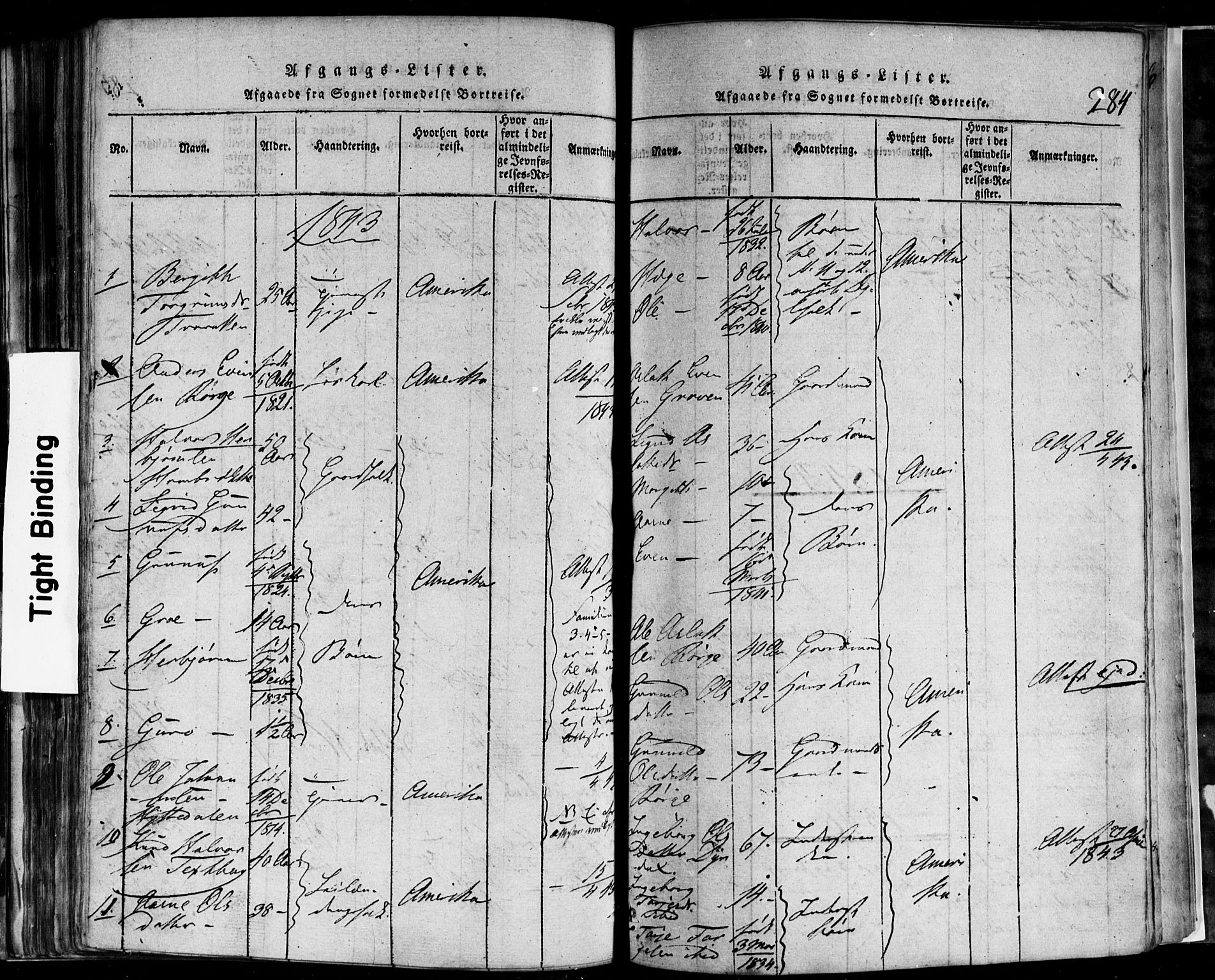 SAKO, Rauland kirkebøker, F/Fa/L0002: Ministerialbok nr. 2, 1815-1860, s. 284