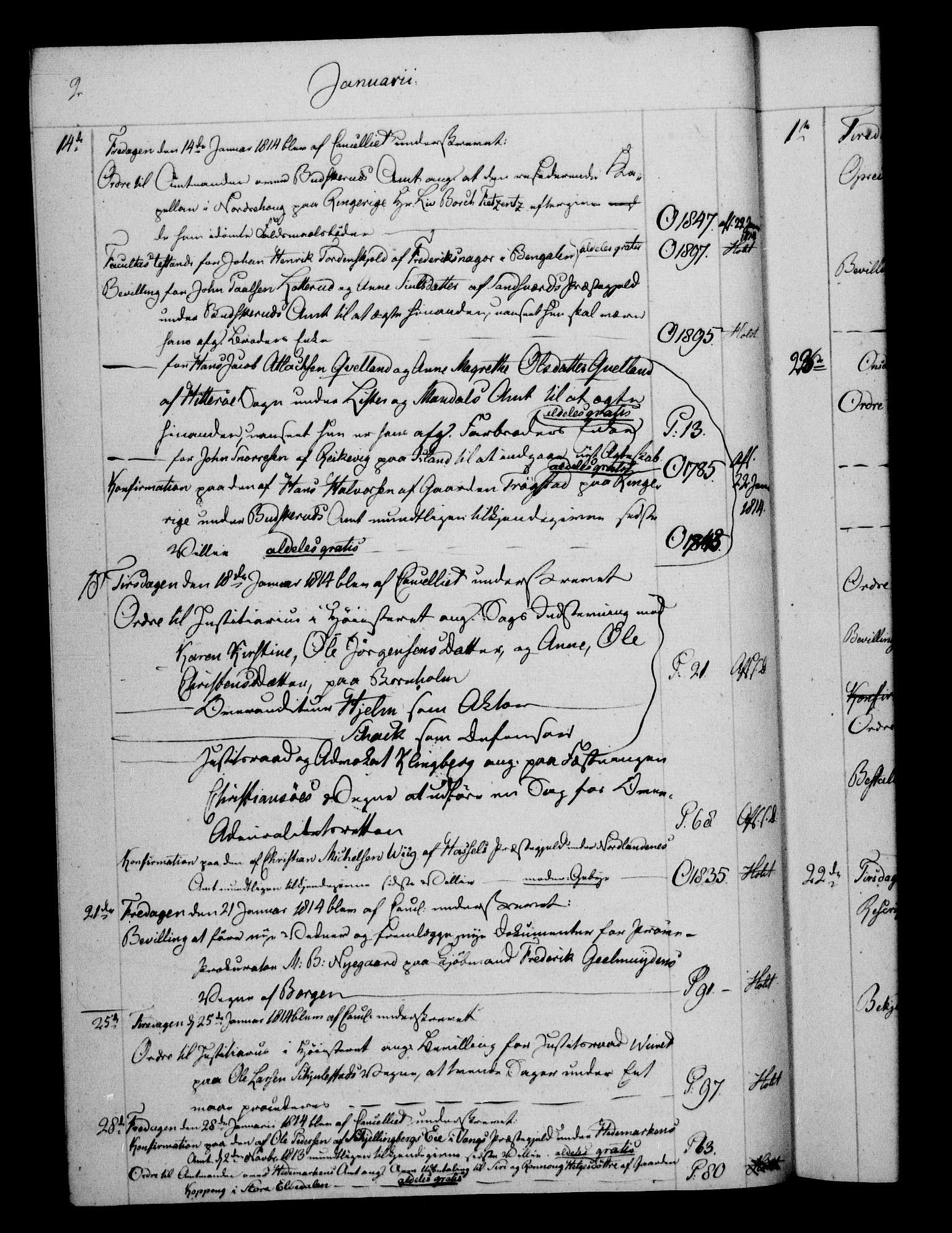RA, Danske Kanselli 1800-1814, H/Hf/Hfb/Hfbc/L0015: Underskrivelsesbok m. register, 1814, s. 2
