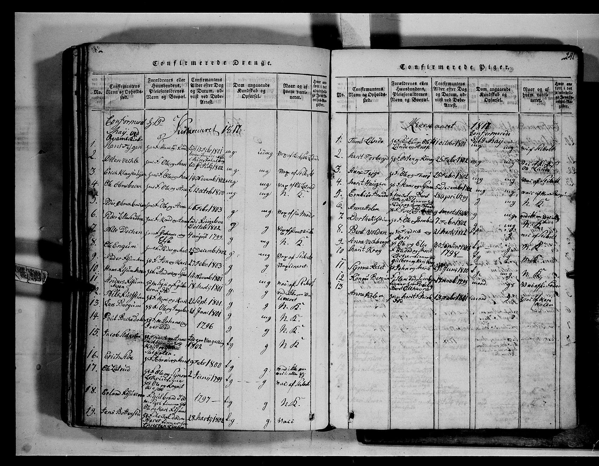 SAH, Fron prestekontor, H/Ha/Hab/L0002: Klokkerbok nr. 2, 1816-1850, s. 241
