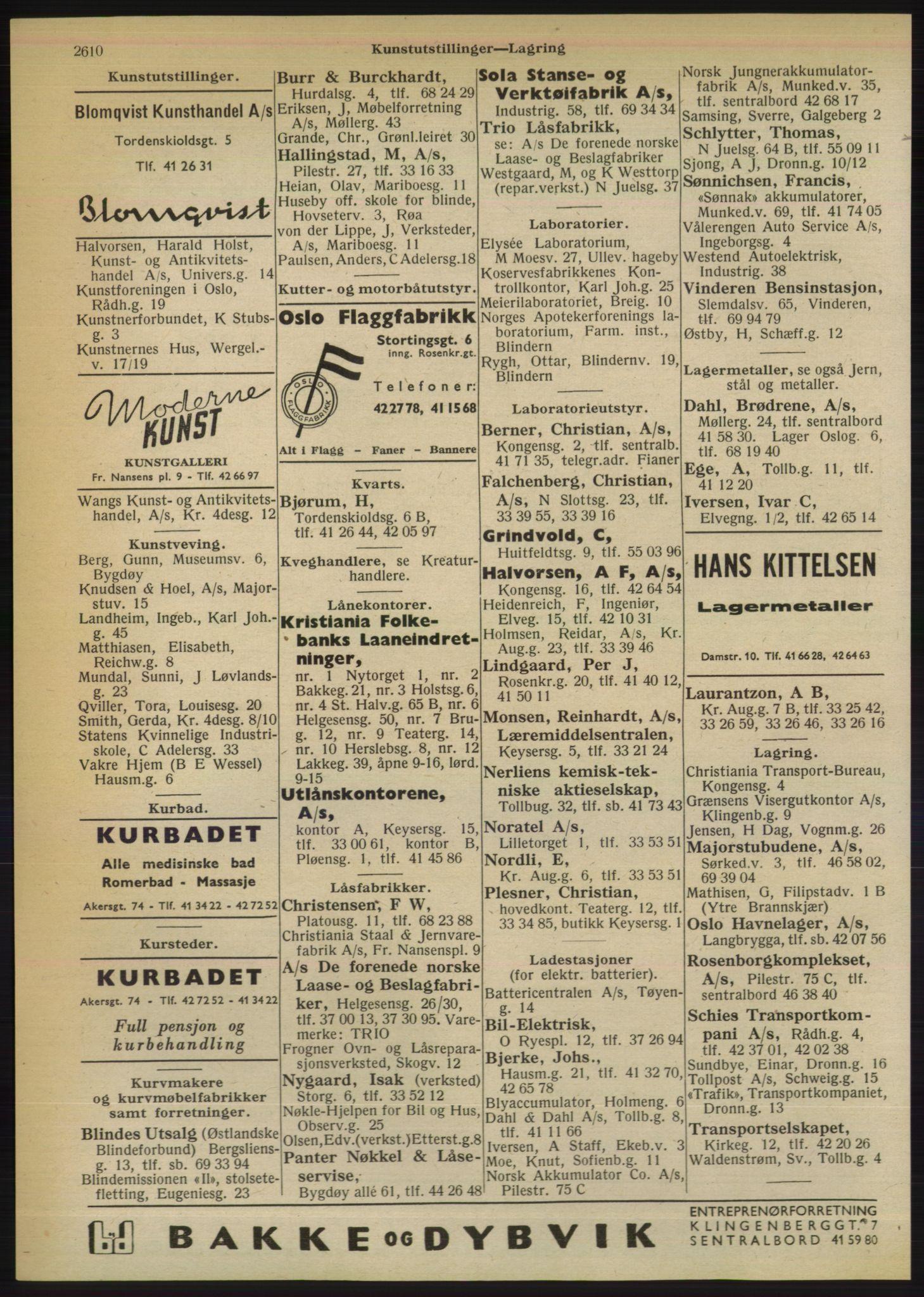 RA, Oslo adressebok (publikasjon)*, 1950, s. 2610