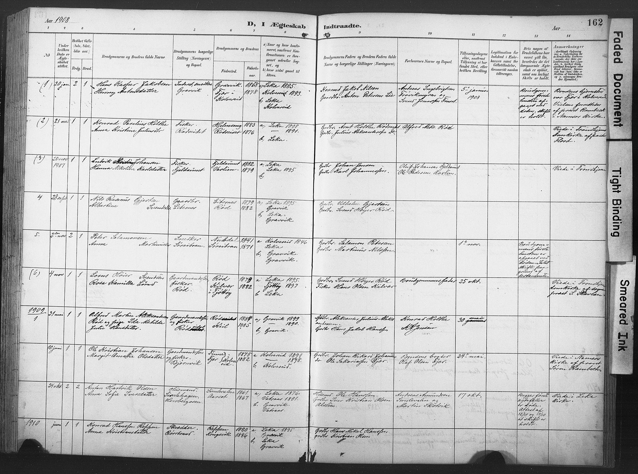 SAT, Ministerialprotokoller, klokkerbøker og fødselsregistre - Nord-Trøndelag, 789/L0706: Klokkerbok nr. 789C01, 1888-1931, s. 162