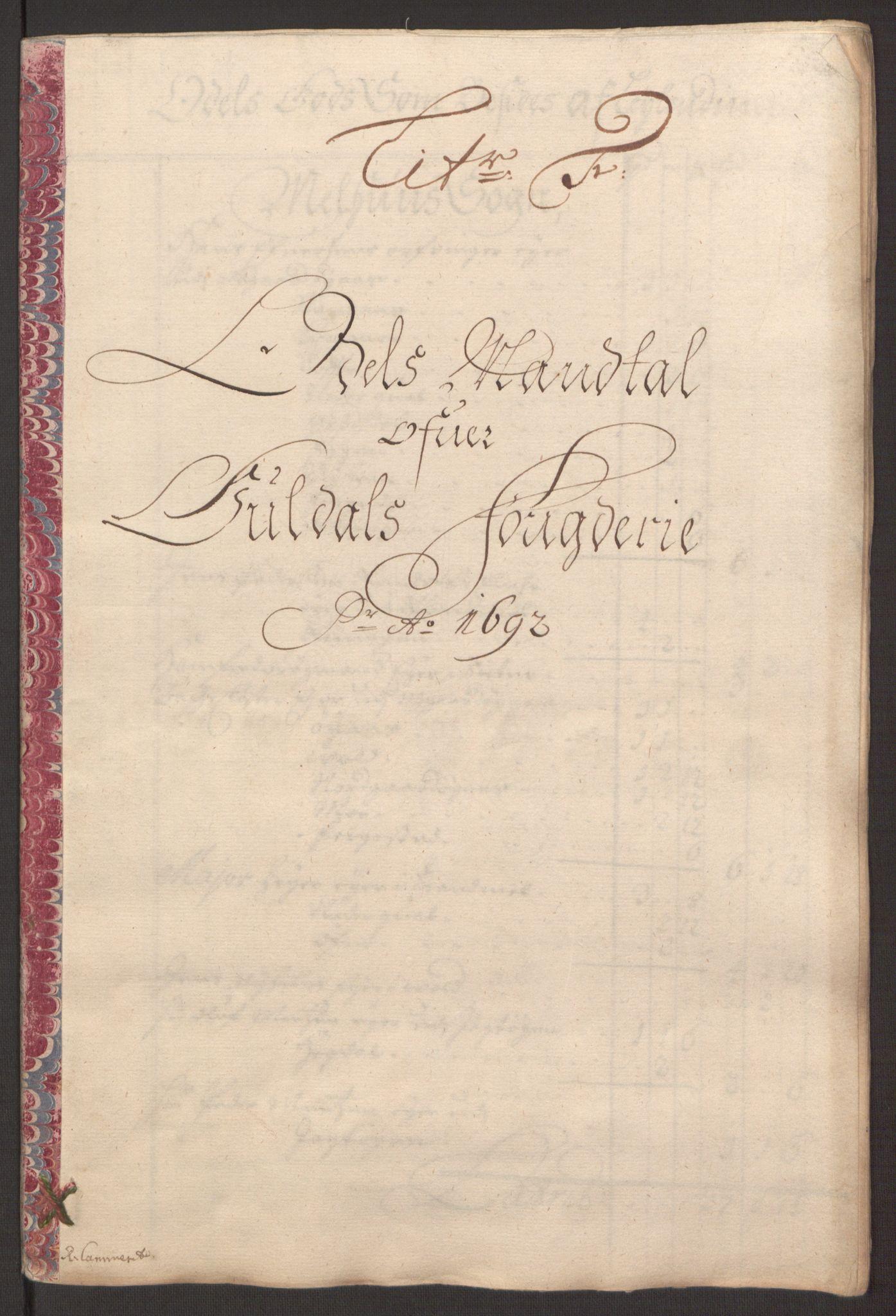 RA, Rentekammeret inntil 1814, Reviderte regnskaper, Fogderegnskap, R59/L3942: Fogderegnskap Gauldal, 1692, s. 99