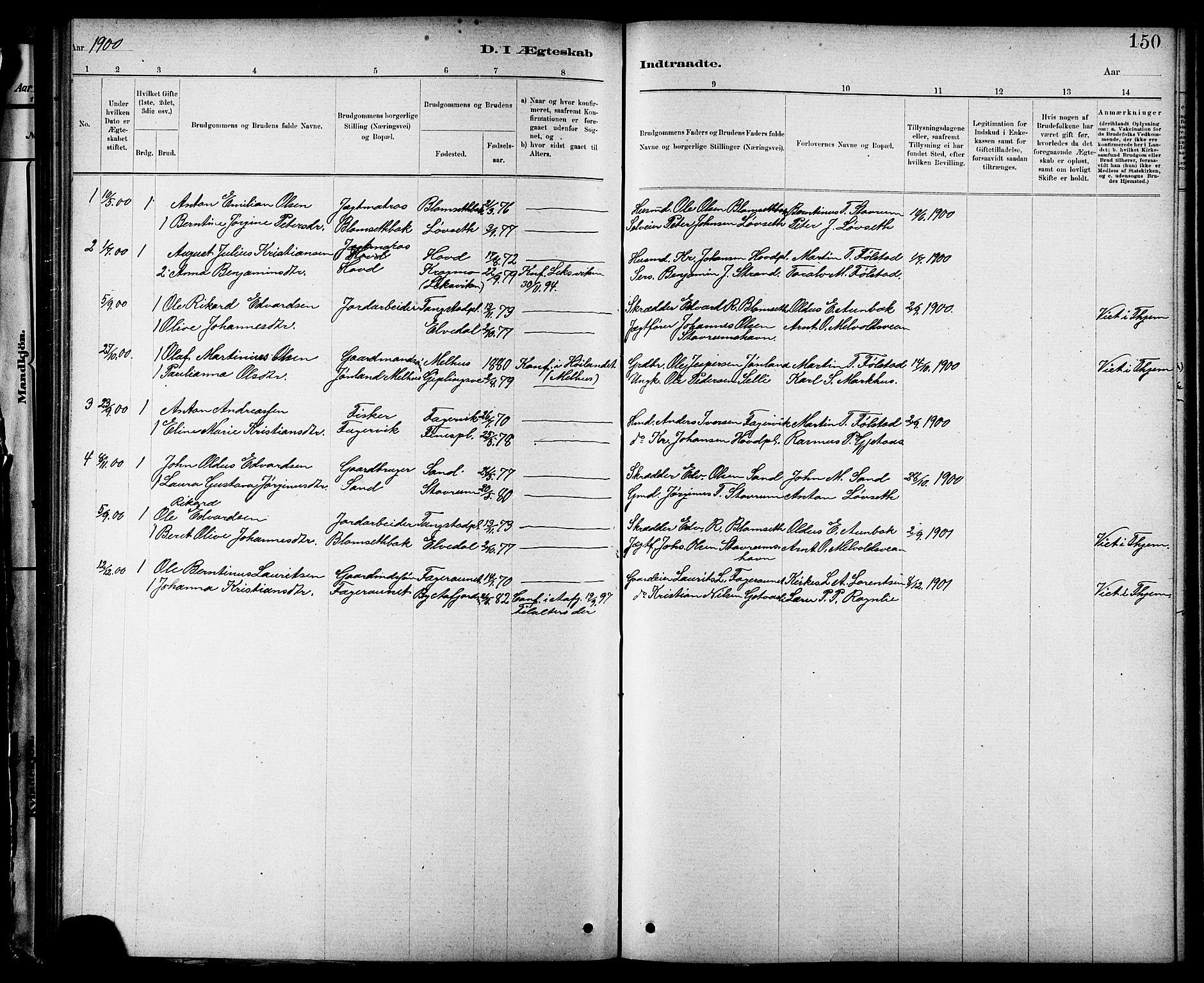 SAT, Ministerialprotokoller, klokkerbøker og fødselsregistre - Nord-Trøndelag, 744/L0423: Klokkerbok nr. 744C02, 1886-1905, s. 150