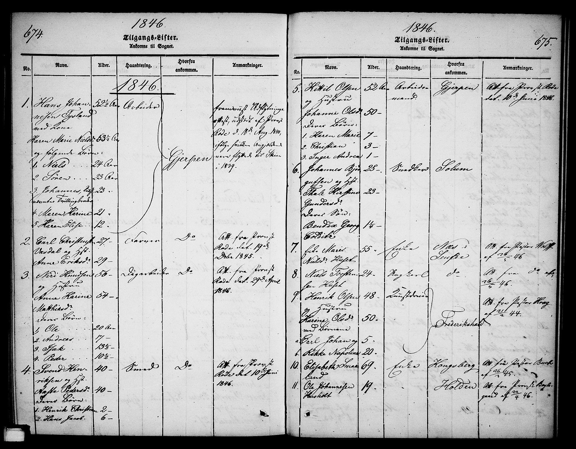 SAKO, Skien kirkebøker, G/Ga/L0003: Klokkerbok nr. 3, 1843-1847, s. 674-675