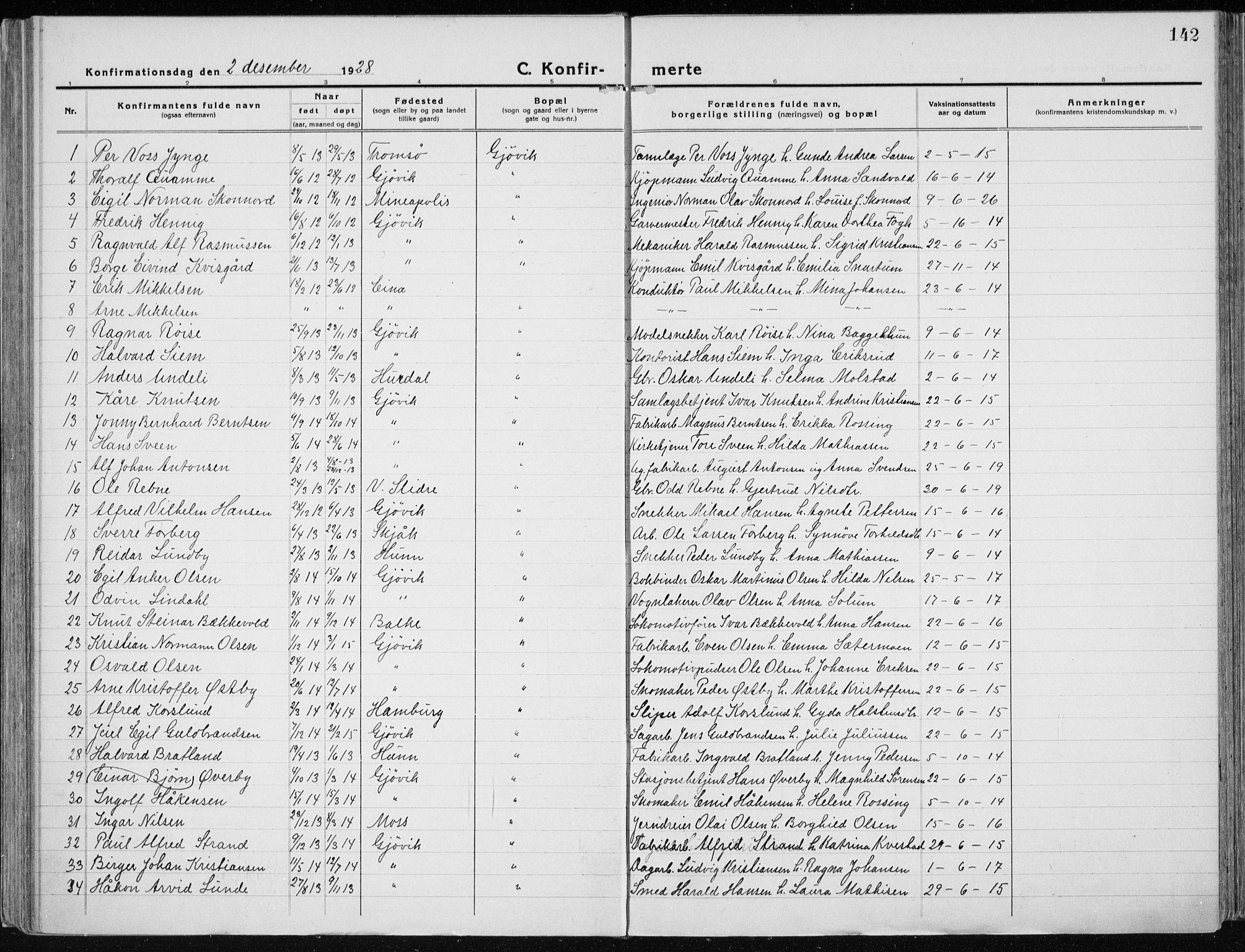 SAH, Vardal prestekontor, H/Ha/Haa/L0015: Ministerialbok nr. 15, 1923-1937, s. 142