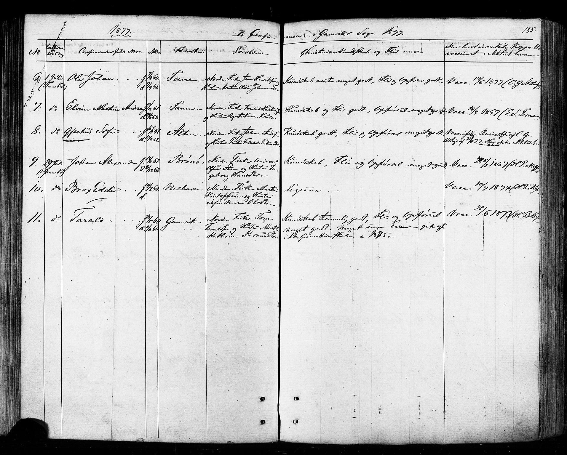 SATØ, Tana sokneprestkontor, H/Ha/L0002kirke: Ministerialbok nr. 2 /2, 1862-1877, s. 185