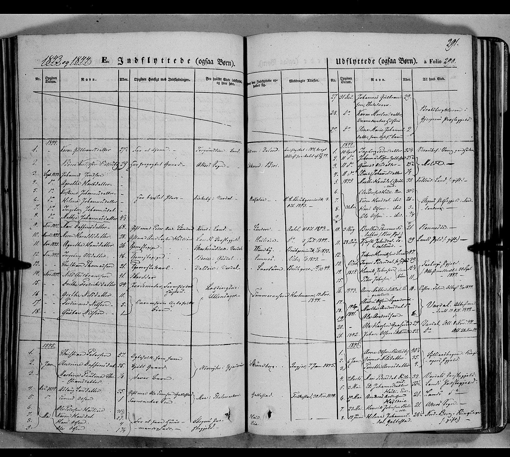 SAH, Biri prestekontor, Ministerialbok nr. 5, 1843-1854, s. 291