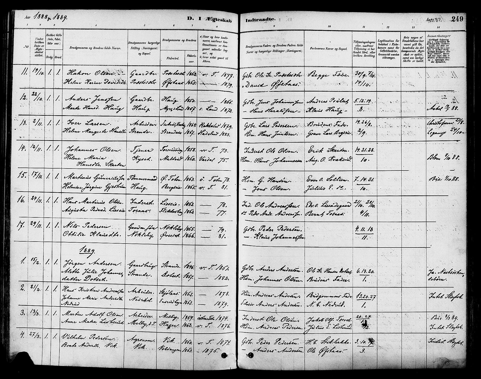 SAH, Vestre Toten prestekontor, Ministerialbok nr. 9, 1878-1894, s. 249