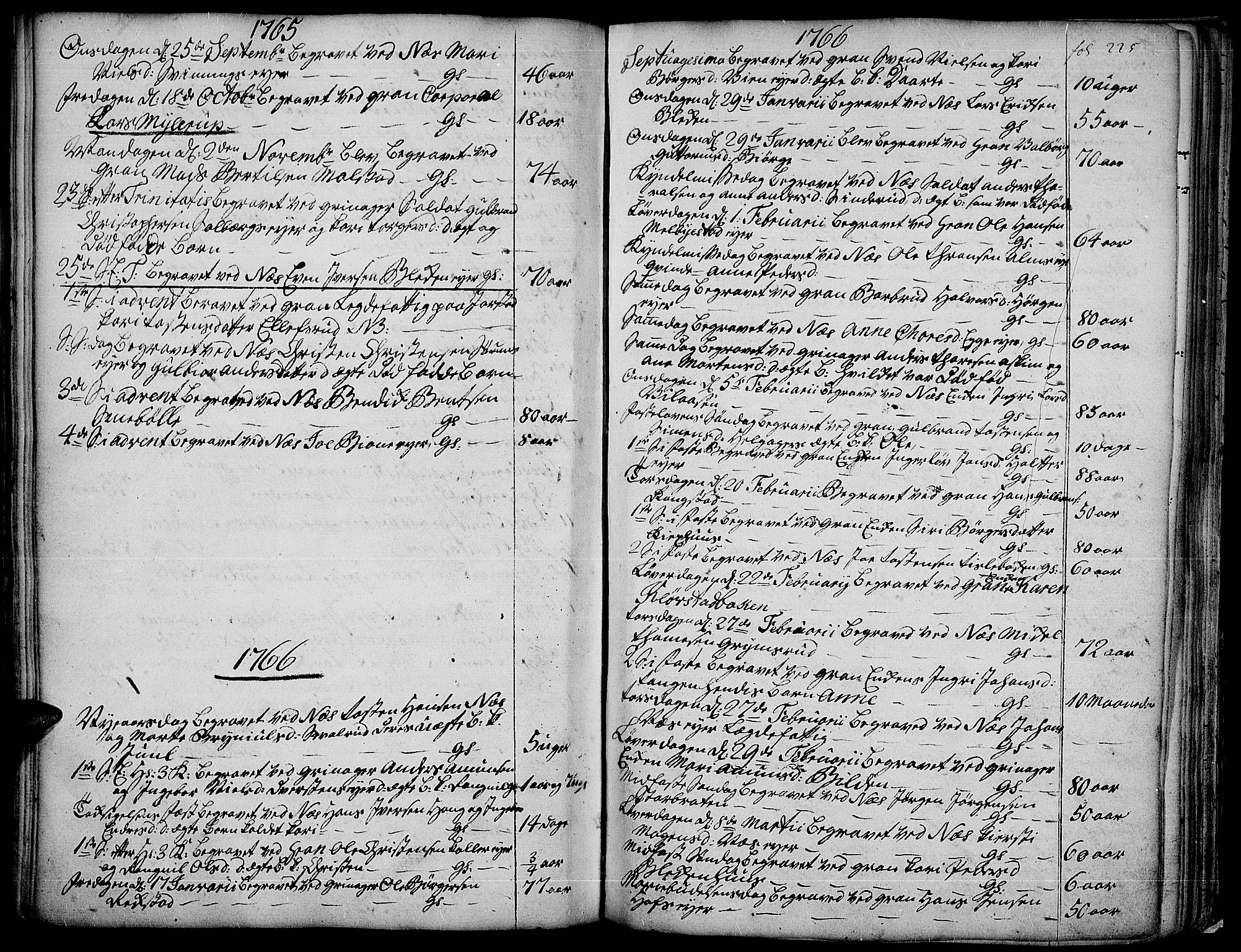 SAH, Gran prestekontor, Ministerialbok nr. 4, 1759-1775, s. 225