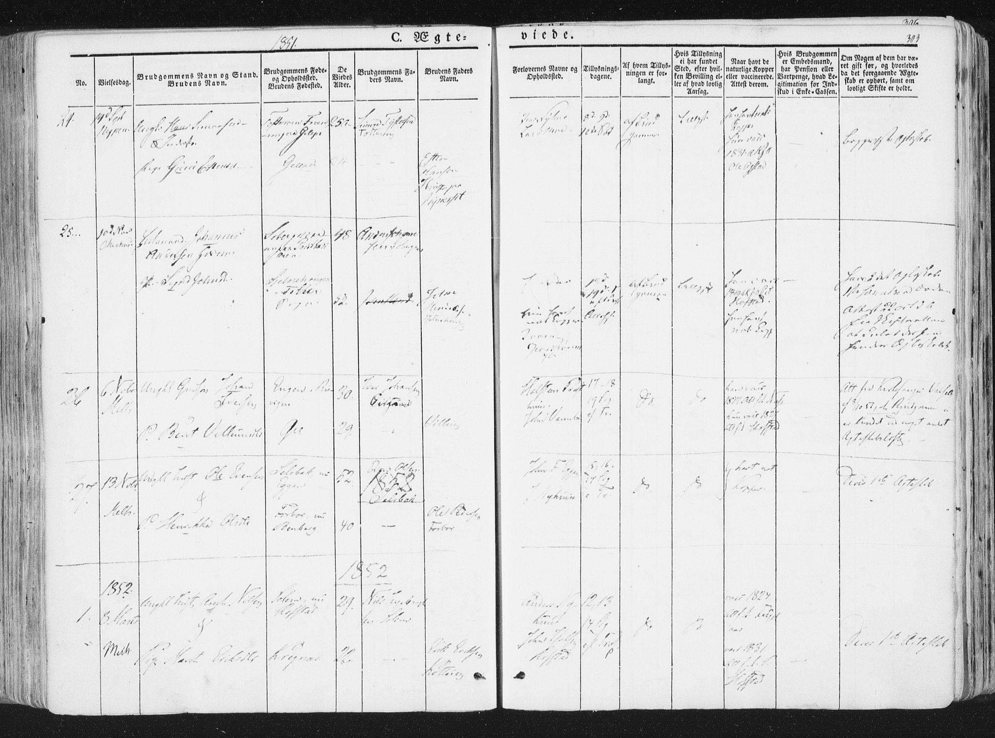 SAT, Ministerialprotokoller, klokkerbøker og fødselsregistre - Sør-Trøndelag, 691/L1074: Ministerialbok nr. 691A06, 1842-1852, s. 303