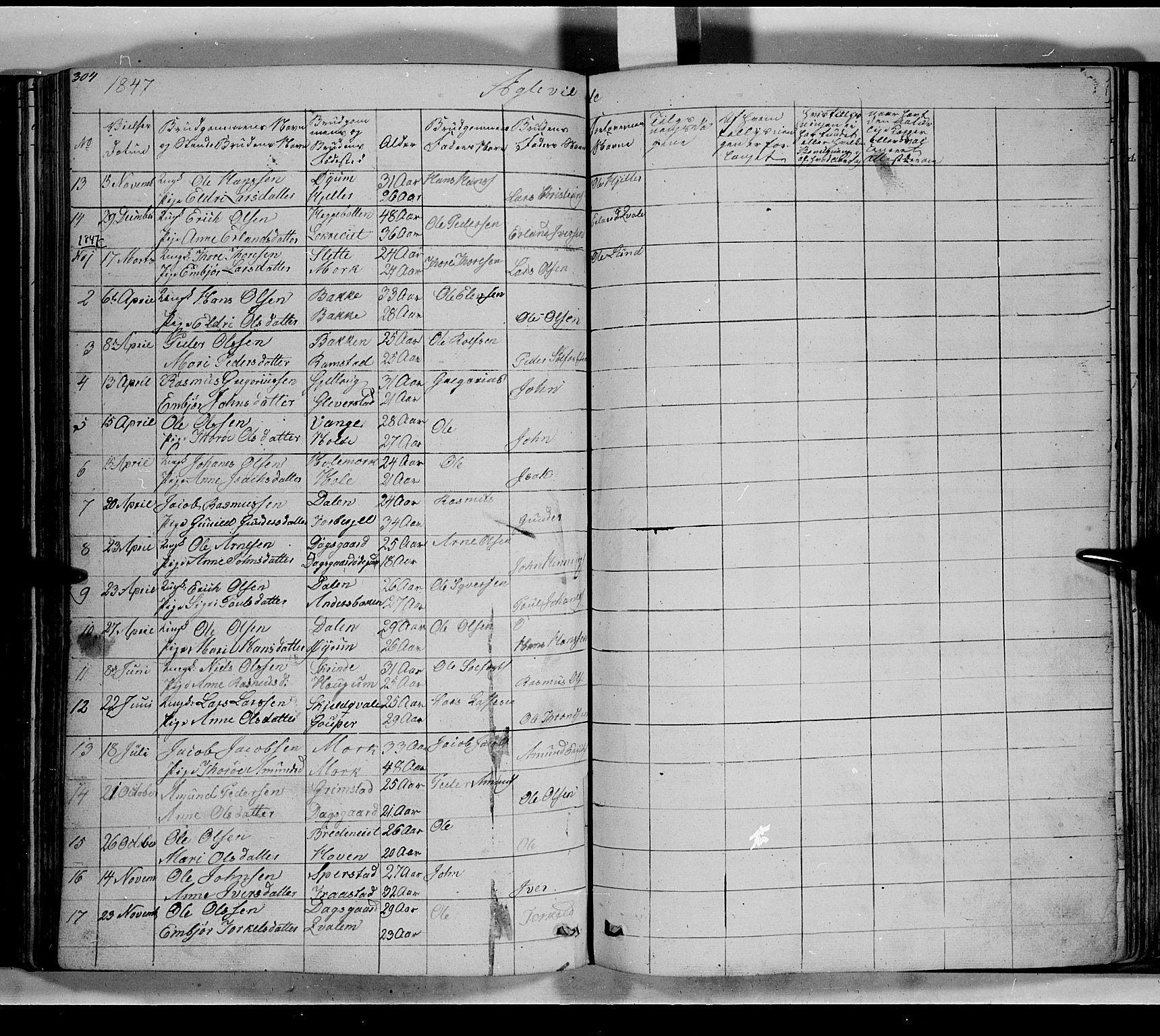 SAH, Lom prestekontor, L/L0004: Klokkerbok nr. 4, 1845-1864, s. 304-305