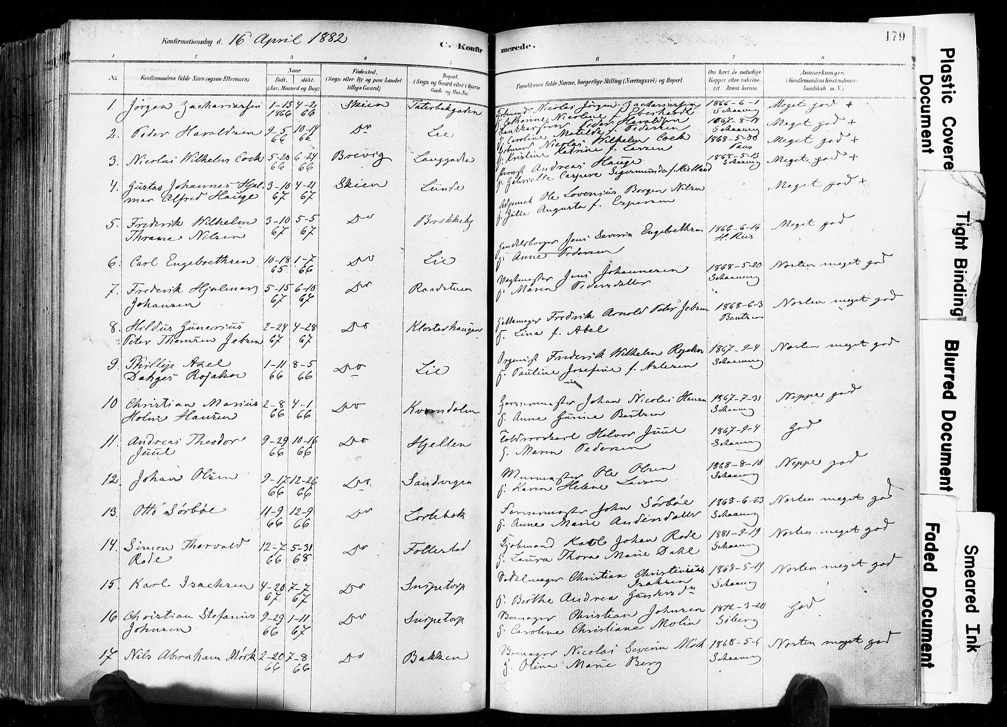 SAKO, Skien kirkebøker, F/Fa/L0009: Ministerialbok nr. 9, 1878-1890, s. 179