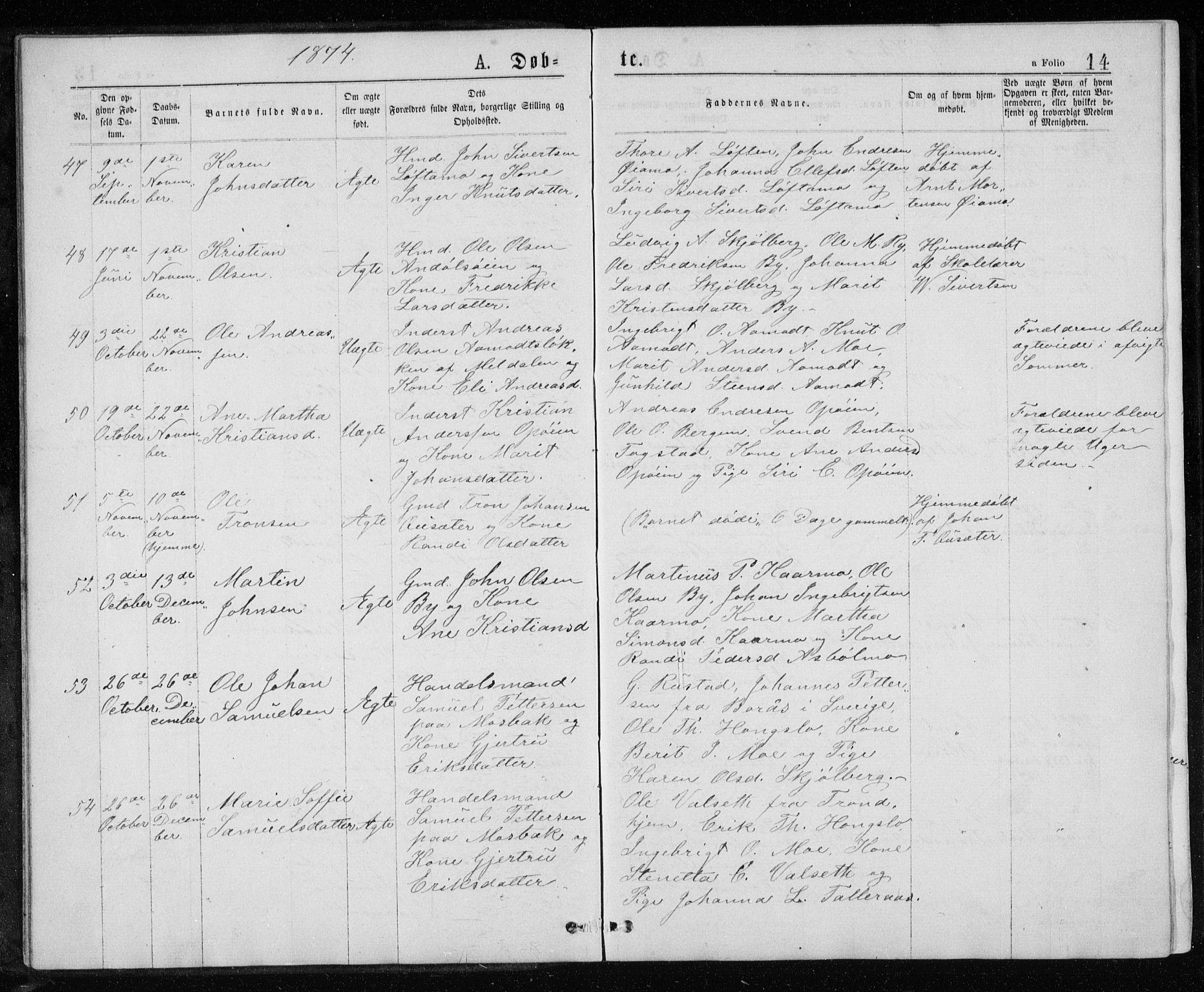 SAT, Ministerialprotokoller, klokkerbøker og fødselsregistre - Sør-Trøndelag, 671/L0843: Klokkerbok nr. 671C02, 1873-1892, s. 14