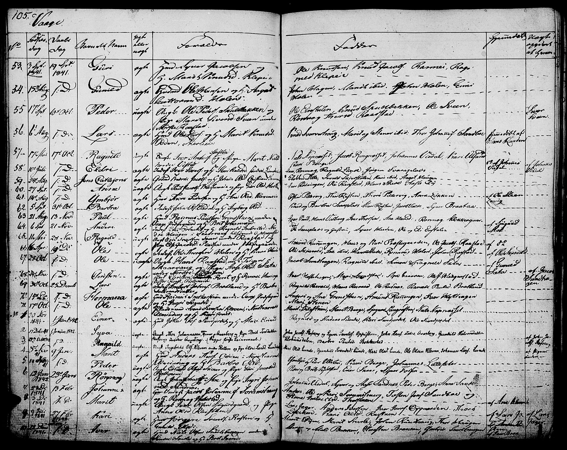SAH, Vågå prestekontor, Ministerialbok nr. 4 /1, 1827-1842, s. 105