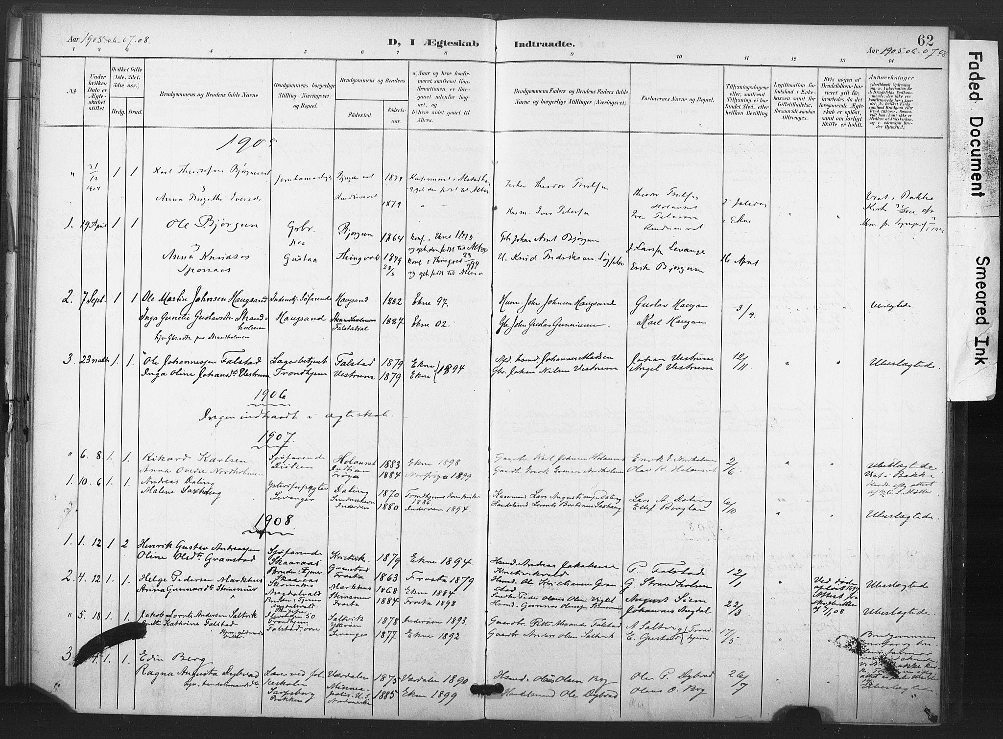 SAT, Ministerialprotokoller, klokkerbøker og fødselsregistre - Nord-Trøndelag, 719/L0179: Ministerialbok nr. 719A02, 1901-1923, s. 62