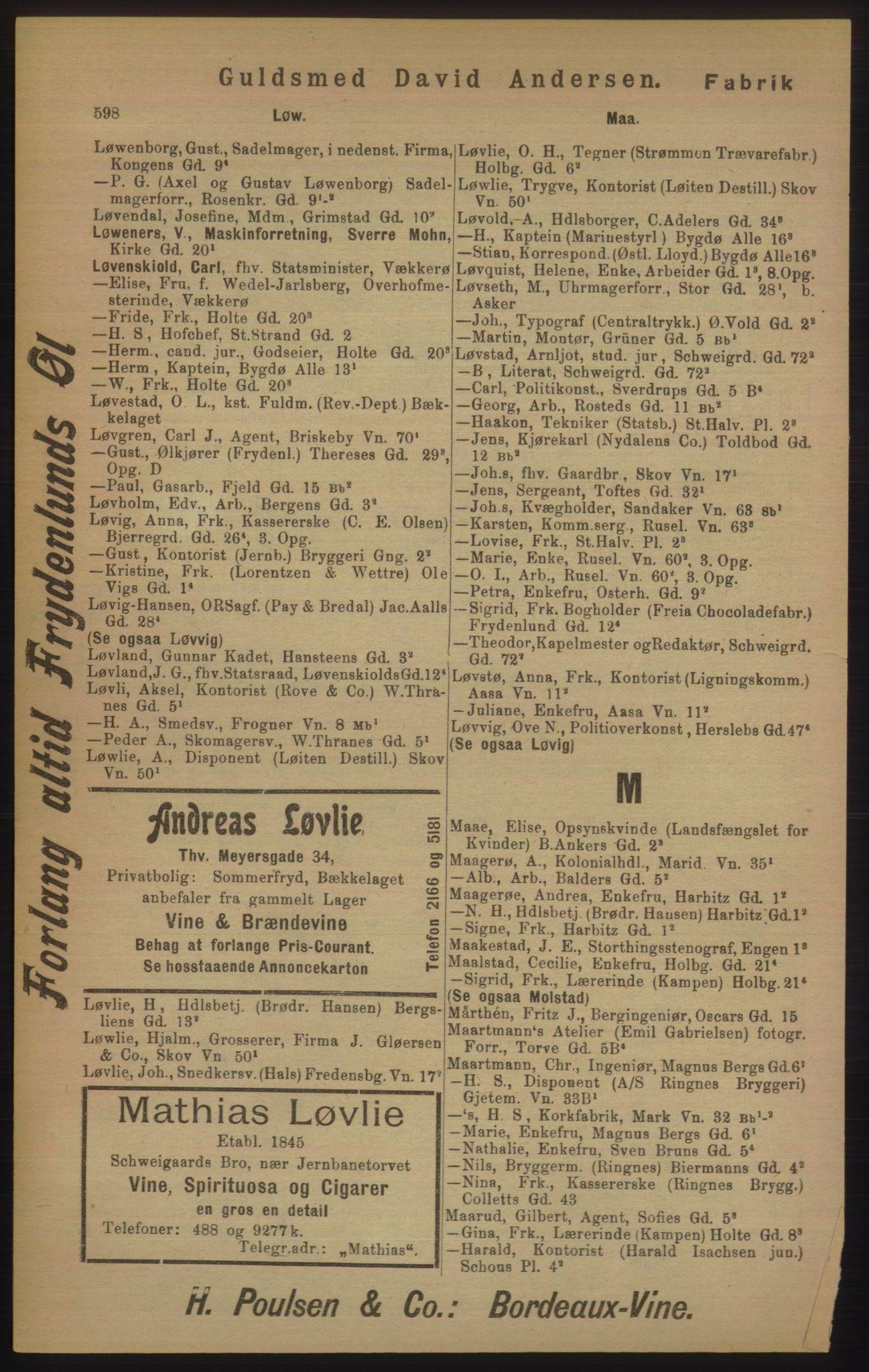 RA, Kristiania adressebok (publikasjon)*, 1905, s. 598
