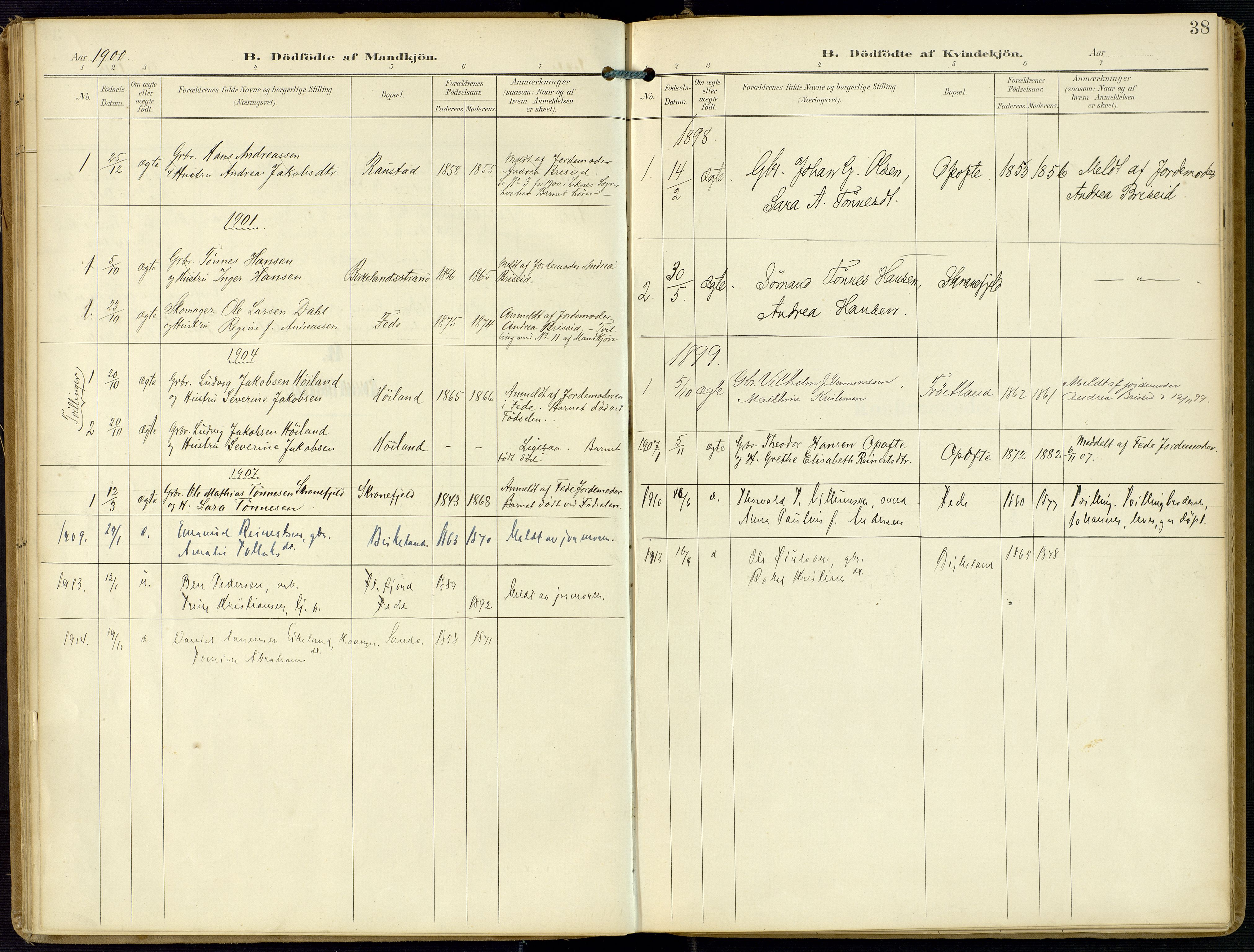 SAK, Kvinesdal sokneprestkontor, F/Fa/Faa/L0005: Ministerialbok nr. A 5, 1898-1915, s. 38