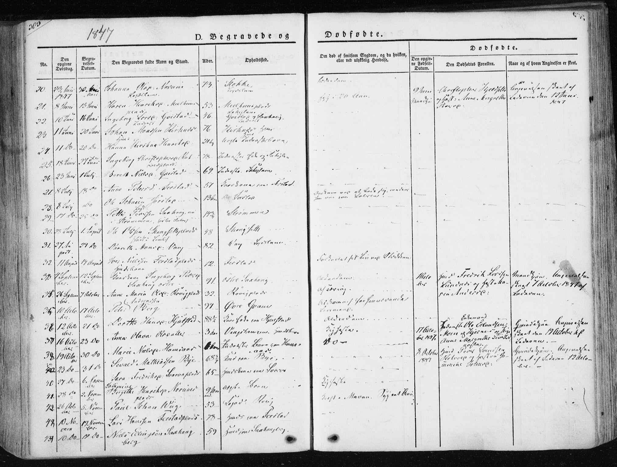 SAT, Ministerialprotokoller, klokkerbøker og fødselsregistre - Nord-Trøndelag, 730/L0280: Ministerialbok nr. 730A07 /1, 1840-1854, s. 303