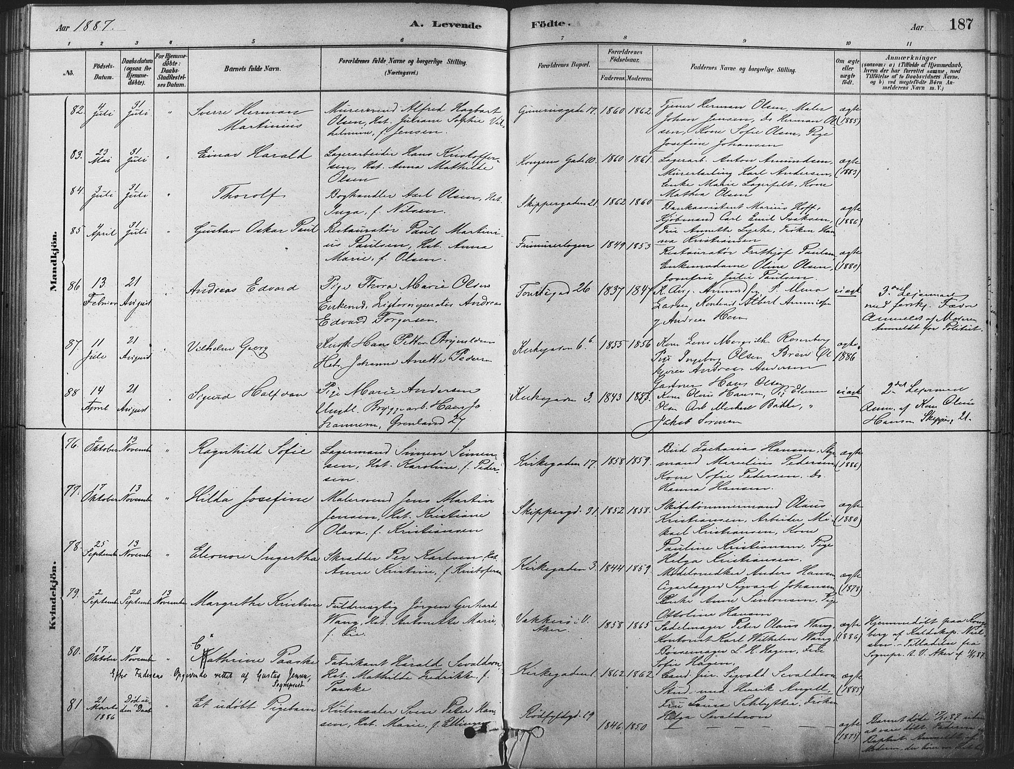 SAO, Oslo domkirke Kirkebøker, F/Fa/L0029: Ministerialbok nr. 29, 1879-1892, s. 187