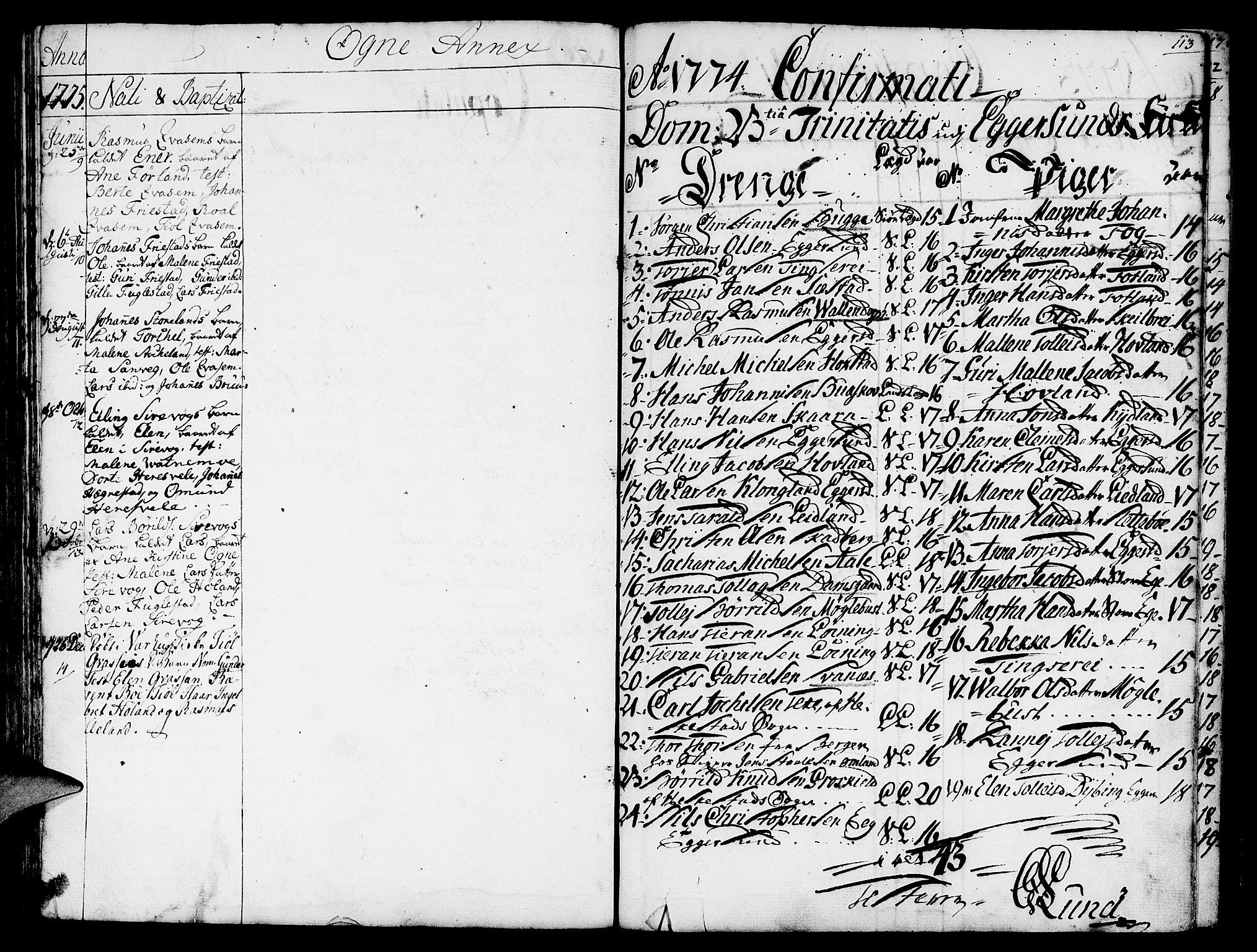 SAST, Egersund sokneprestkontor, Ministerialbok nr. A 3, 1758-1775, s. 113