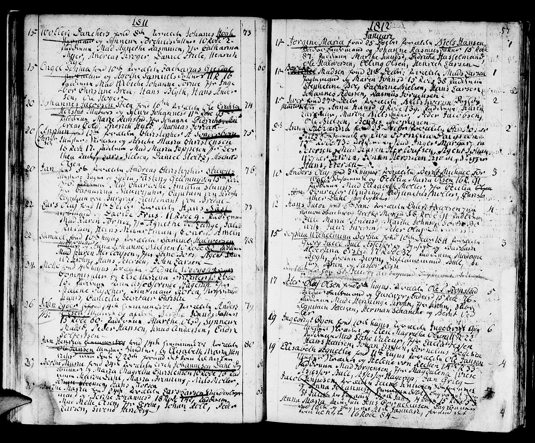 SAB, Domkirken Sokneprestembete, H/Haa/L0005: Ministerialbok nr. A 5, 1808-1820, s. 56-57