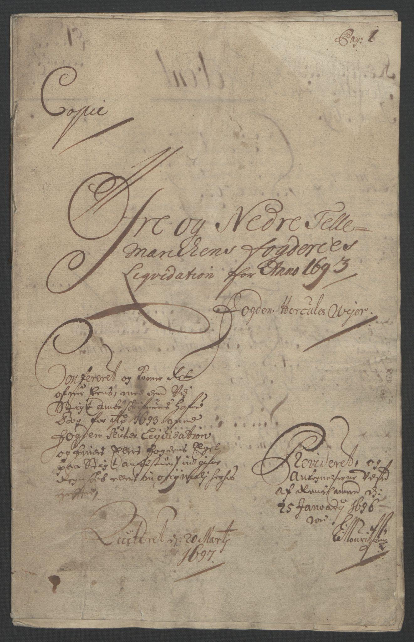 RA, Rentekammeret inntil 1814, Reviderte regnskaper, Fogderegnskap, R35/L2091: Fogderegnskap Øvre og Nedre Telemark, 1690-1693, s. 240