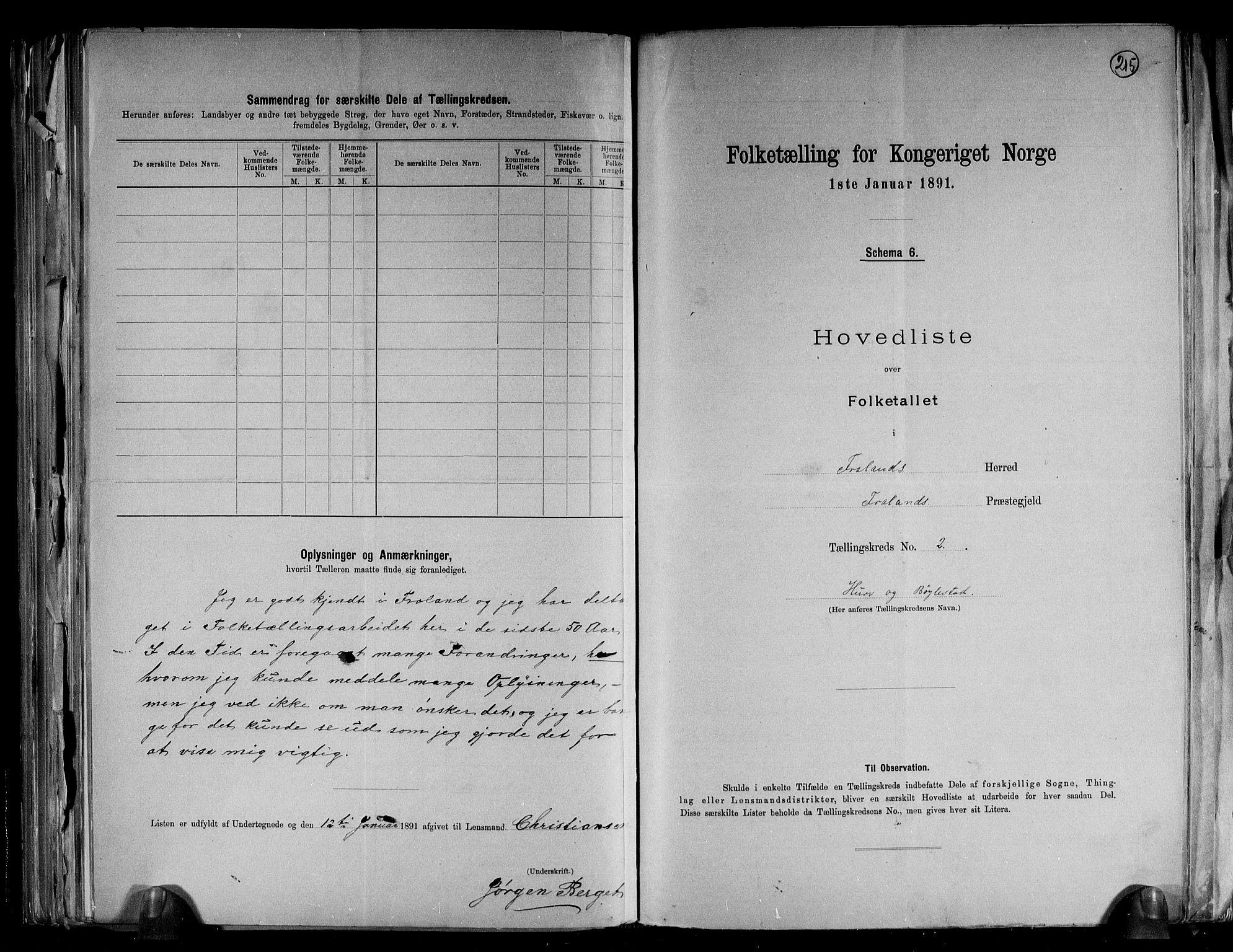 RA, Folketelling 1891 for 0919 Froland herred, 1891, s. 6