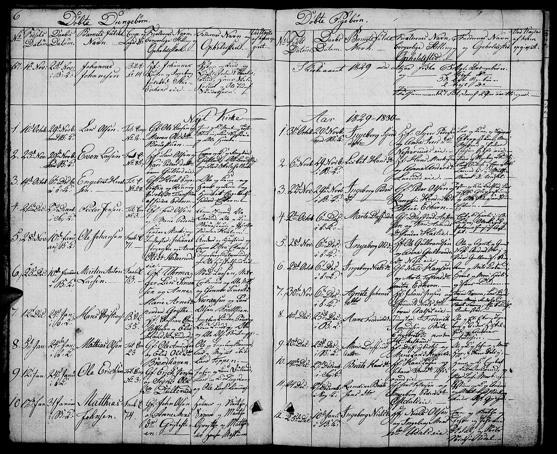 SAH, Biri prestekontor, Klokkerbok nr. 2, 1828-1842, s. 6