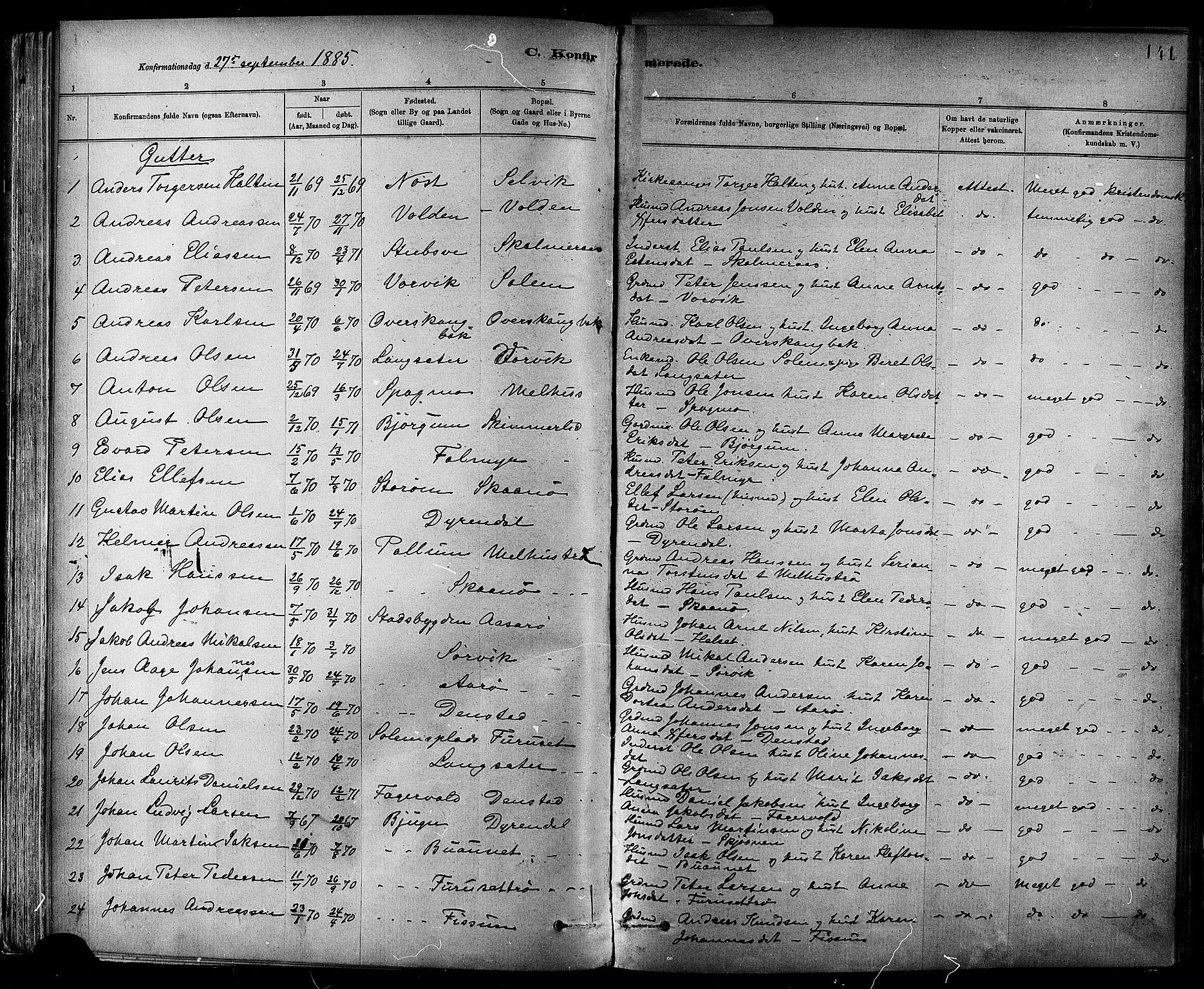 SAT, Ministerialprotokoller, klokkerbøker og fødselsregistre - Sør-Trøndelag, 647/L0634: Ministerialbok nr. 647A01, 1885-1896, s. 141