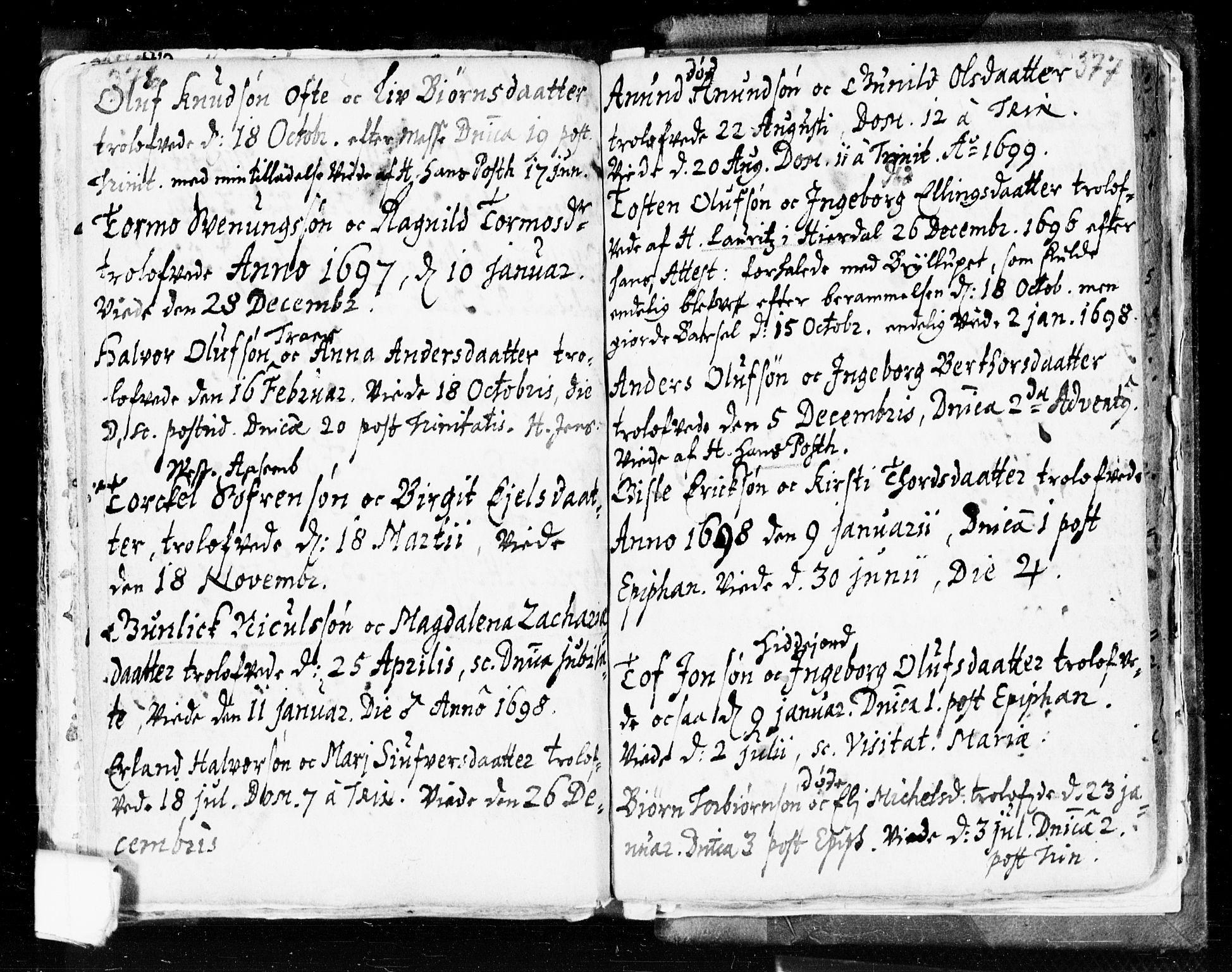 SAKO, Seljord kirkebøker, F/Fa/L0002: Ministerialbok nr. I 2, 1689-1713, s. 376-377