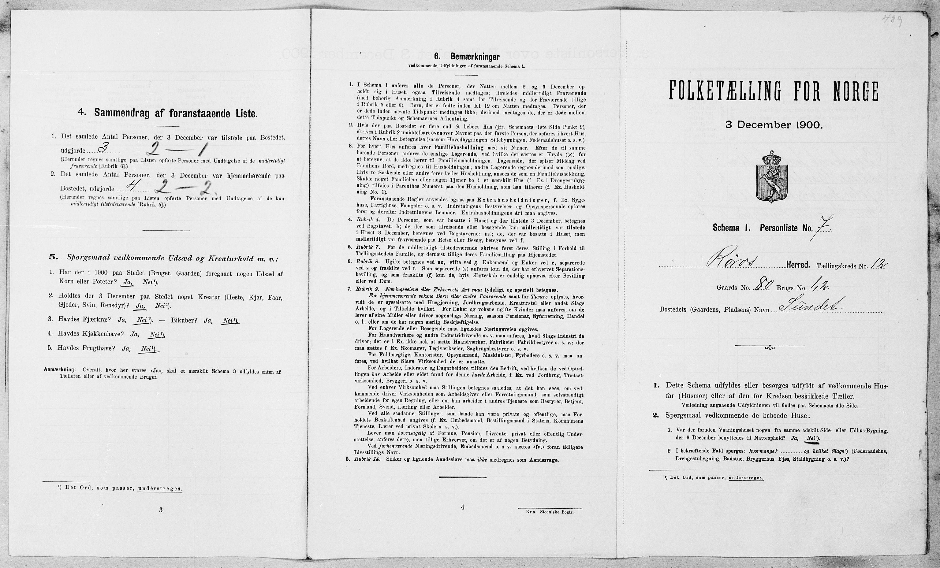 SAT, Folketelling 1900 for 1640 Røros herred, 1900, s. 1302