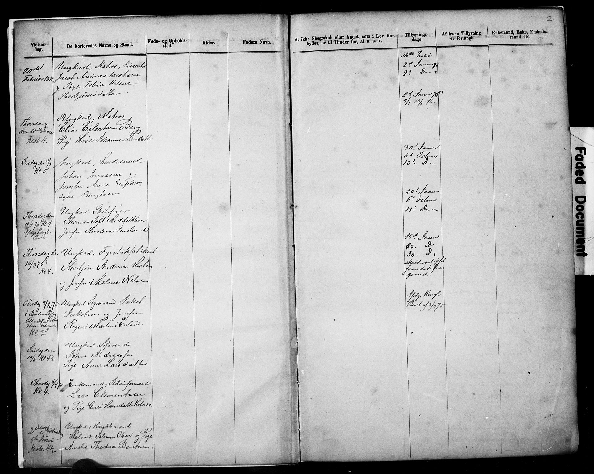 SAST, Domkirken sokneprestkontor, 30/30BB/L0014: Klokkerbok nr. B 14, 1875-1902, s. 2