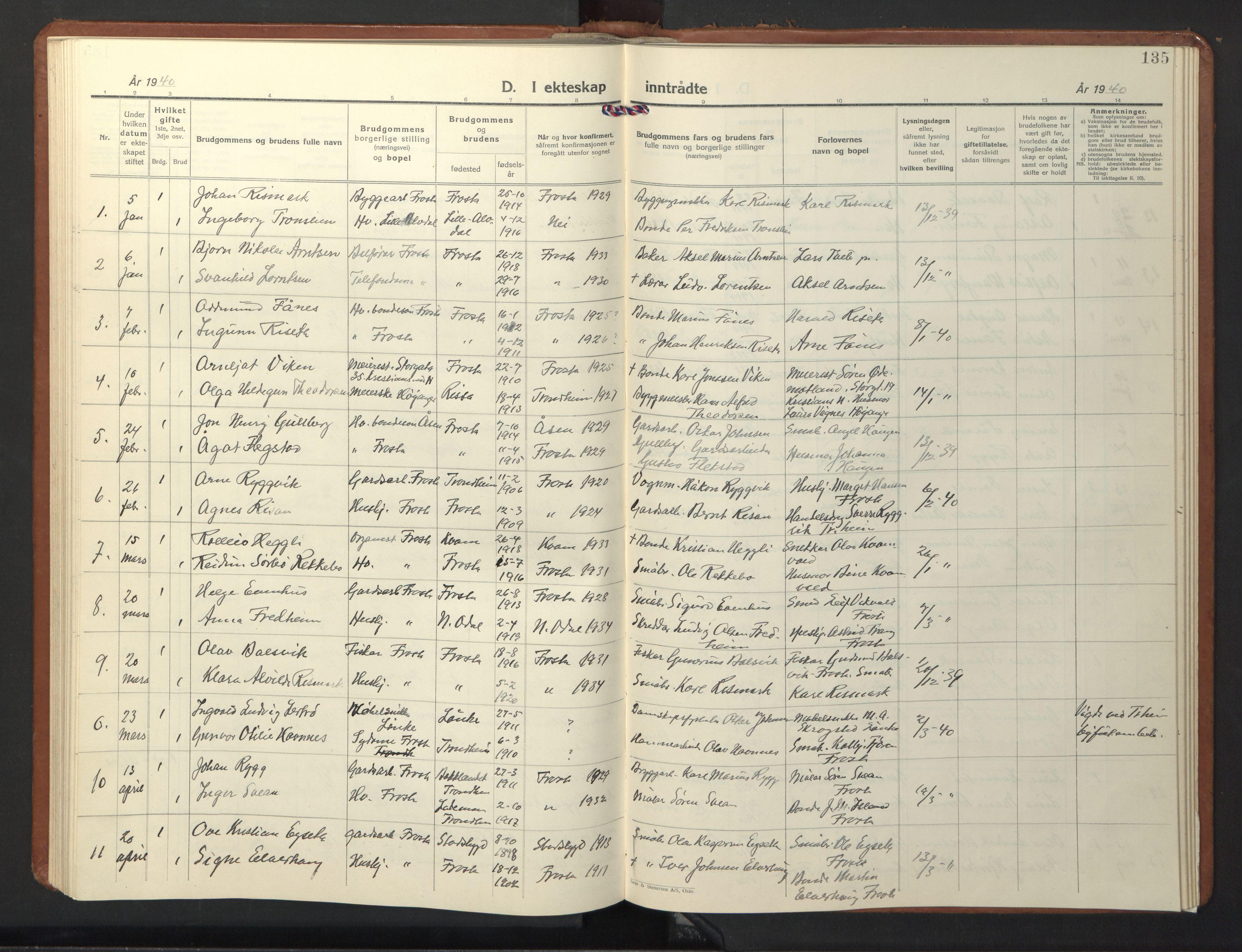SAT, Ministerialprotokoller, klokkerbøker og fødselsregistre - Nord-Trøndelag, 713/L0125: Klokkerbok nr. 713C02, 1931-1941, s. 135
