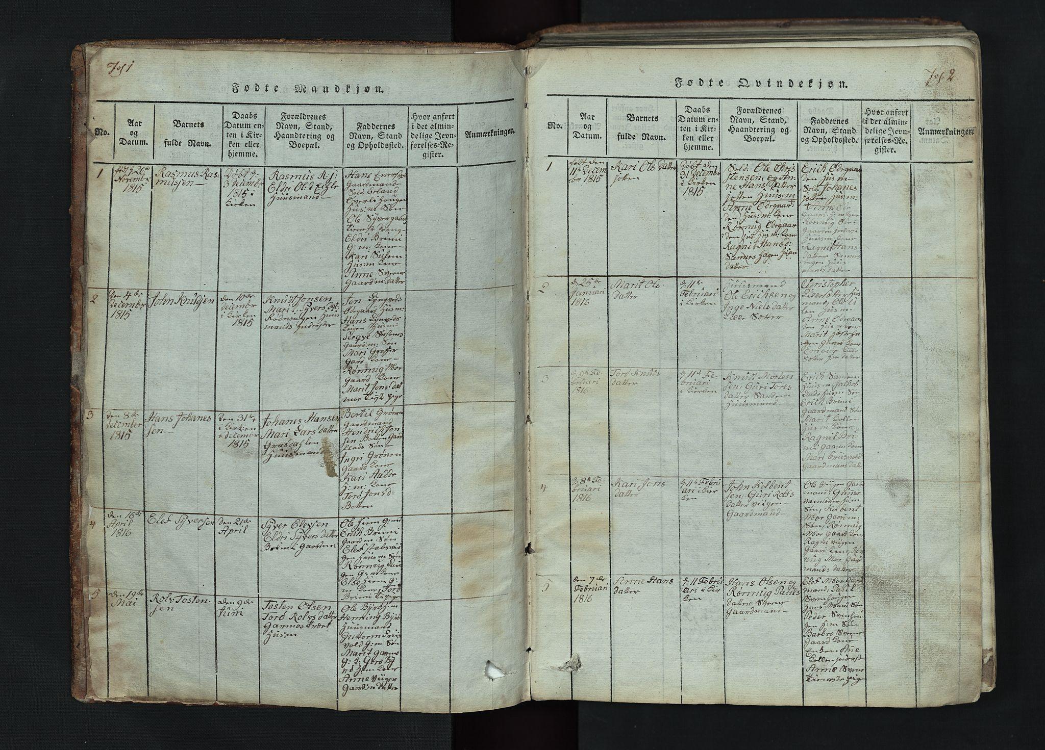 SAH, Lom prestekontor, L/L0002: Klokkerbok nr. 2, 1815-1844, s. 2