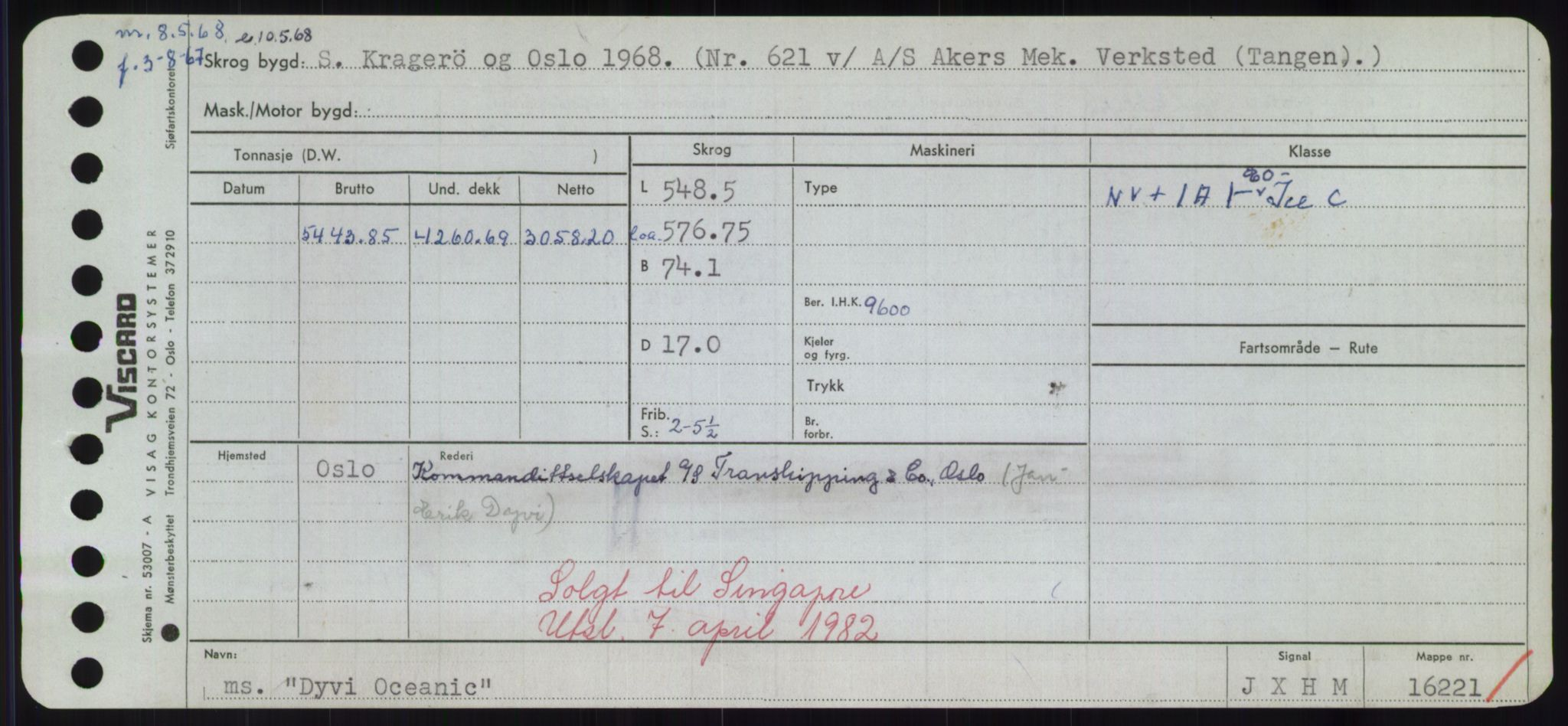 RA, Sjøfartsdirektoratet med forløpere, Skipsmålingen, H/Hd/L0008: Fartøy, C-D, s. 743