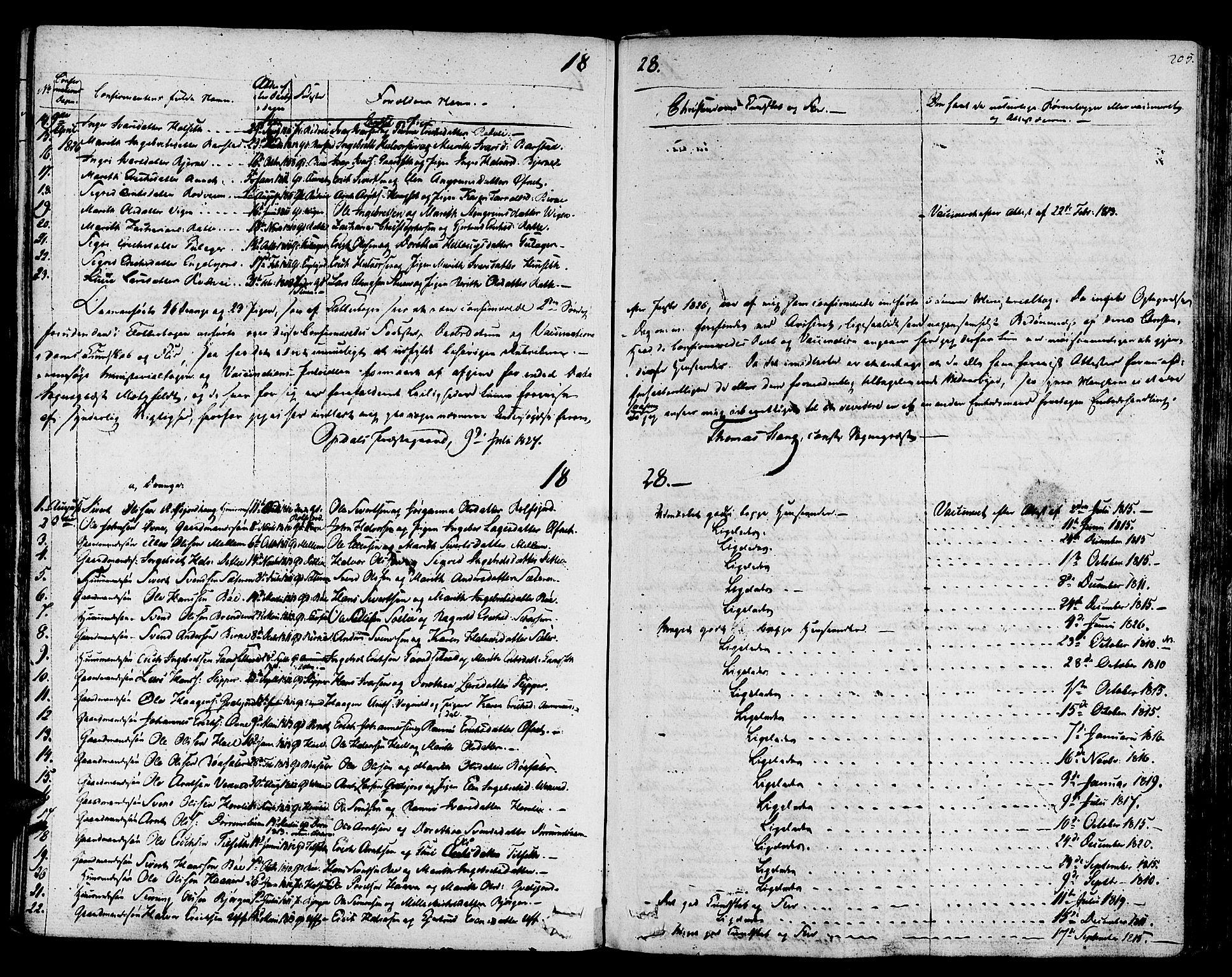 SAT, Ministerialprotokoller, klokkerbøker og fødselsregistre - Sør-Trøndelag, 678/L0897: Ministerialbok nr. 678A06-07, 1821-1847, s. 205