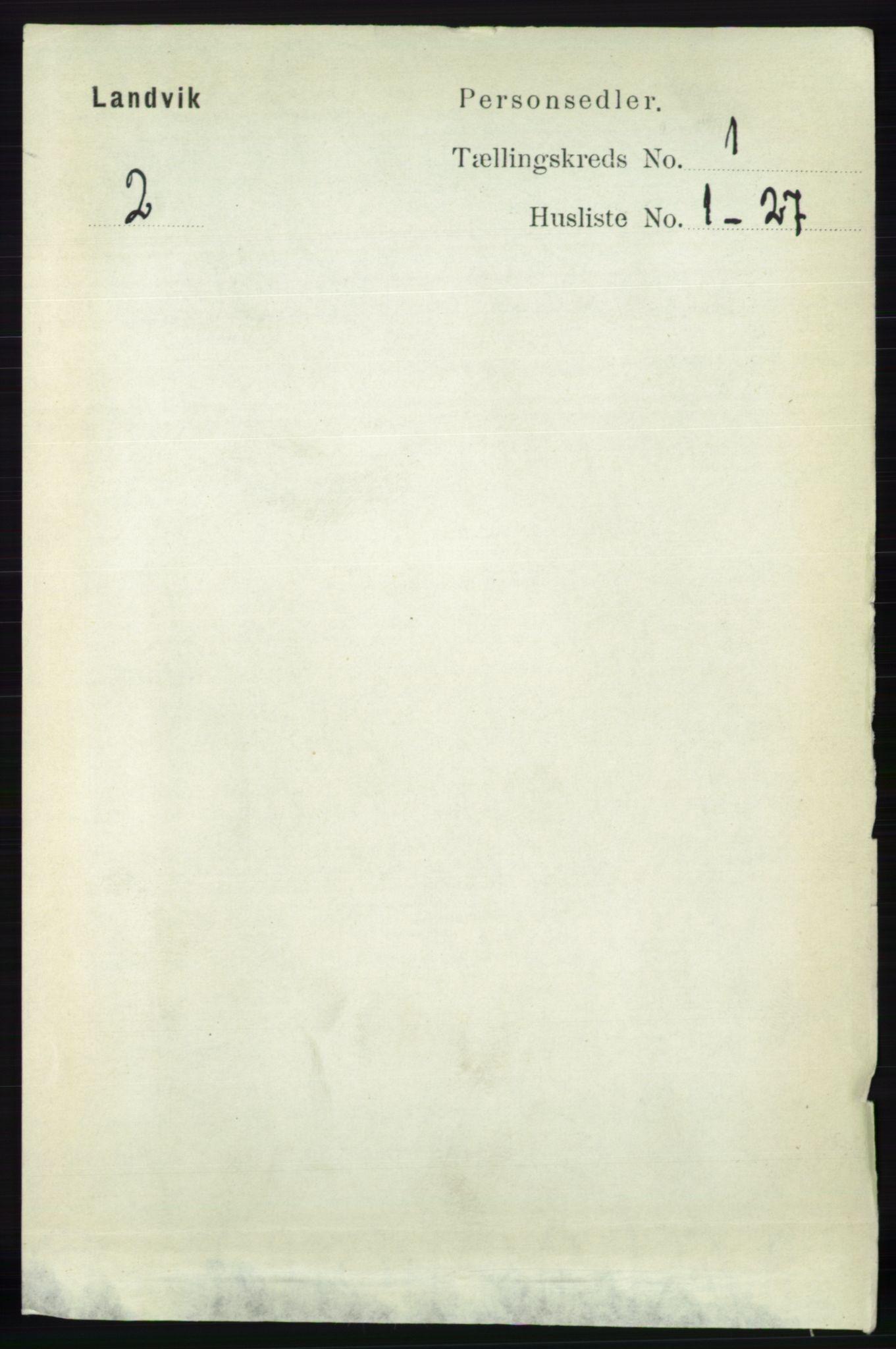 RA, Folketelling 1891 for 0924 Landvik herred, 1891, s. 53