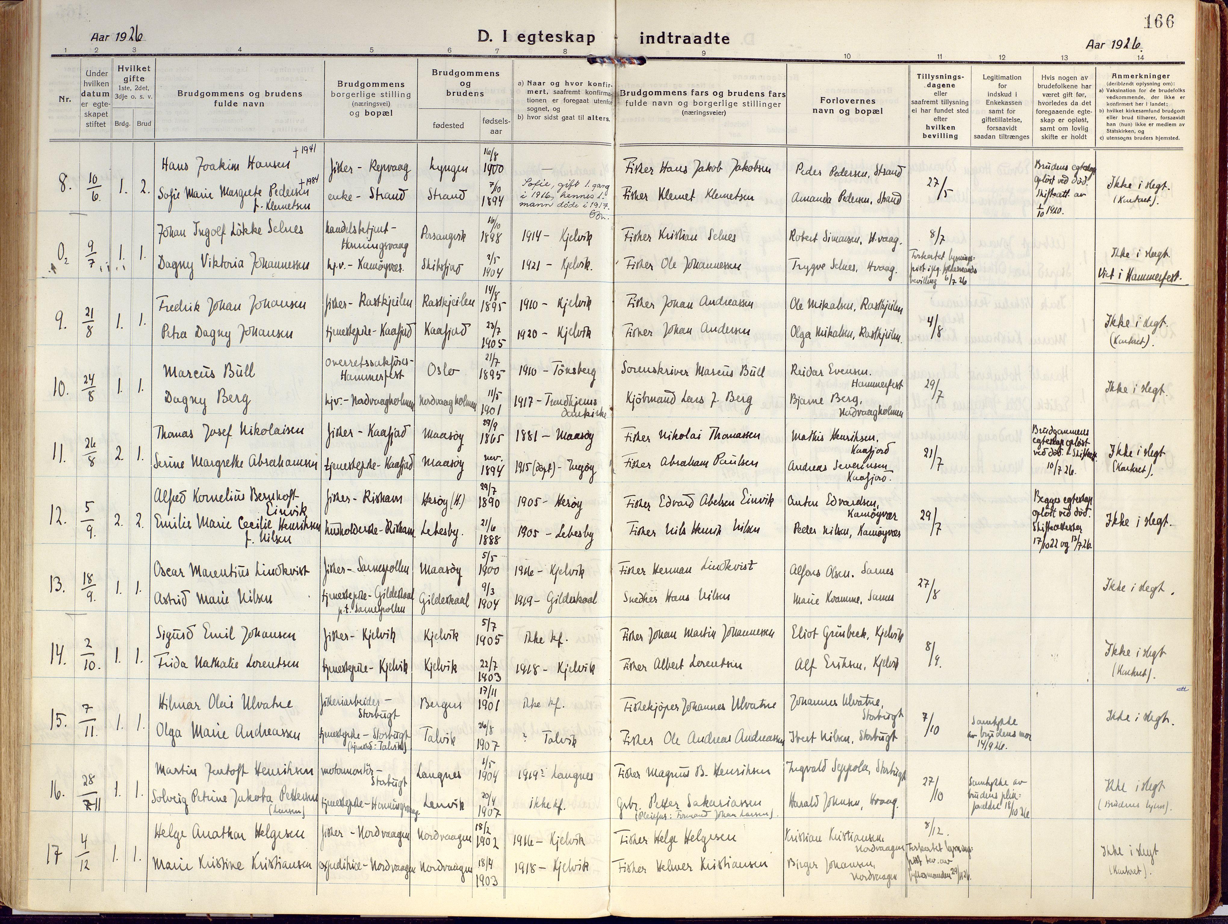 SATØ, Kjelvik/Nordkapp sokneprestkontor, H/Ha/L0002kirke: Ministerialbok nr. 2, 1920-1929, s. 166