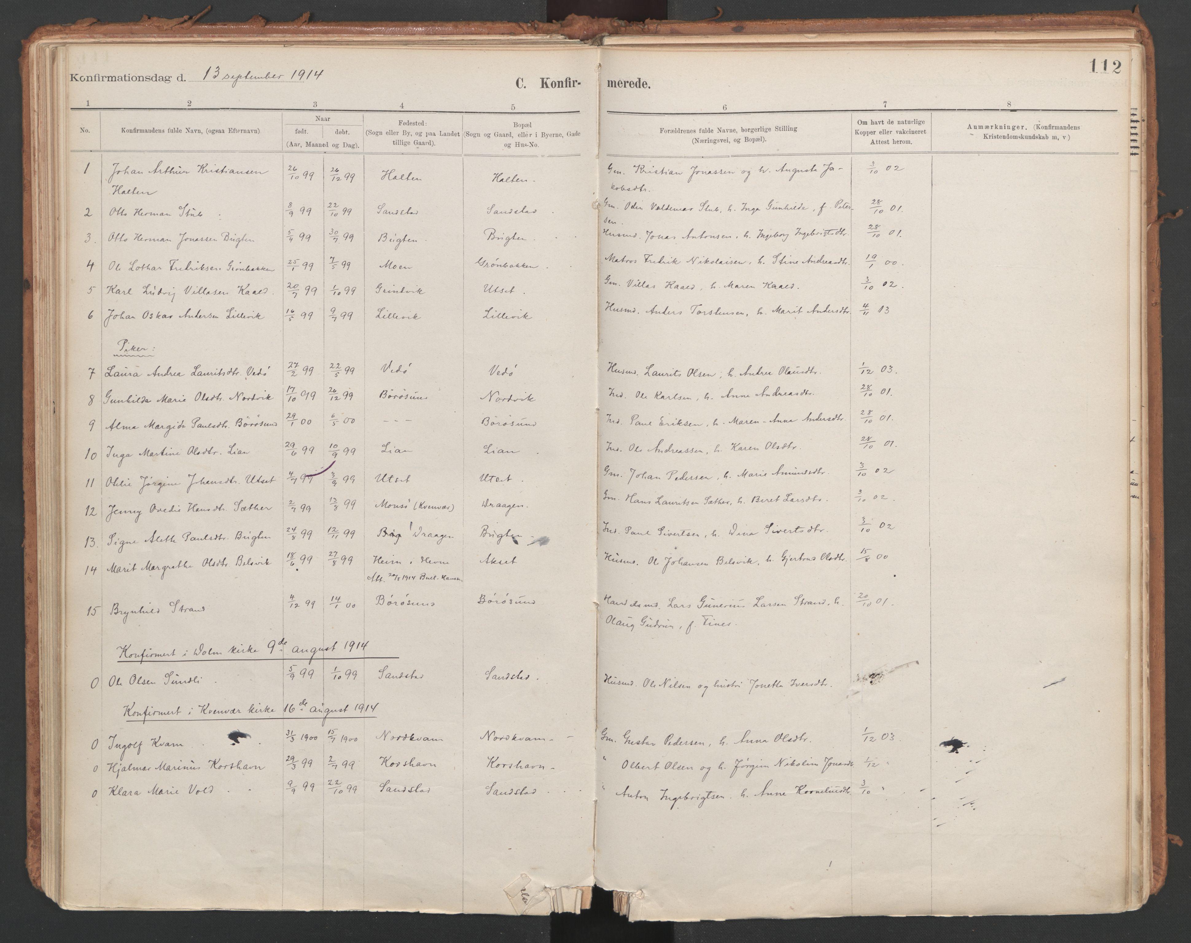 SAT, Ministerialprotokoller, klokkerbøker og fødselsregistre - Sør-Trøndelag, 639/L0572: Ministerialbok nr. 639A01, 1890-1920, s. 112