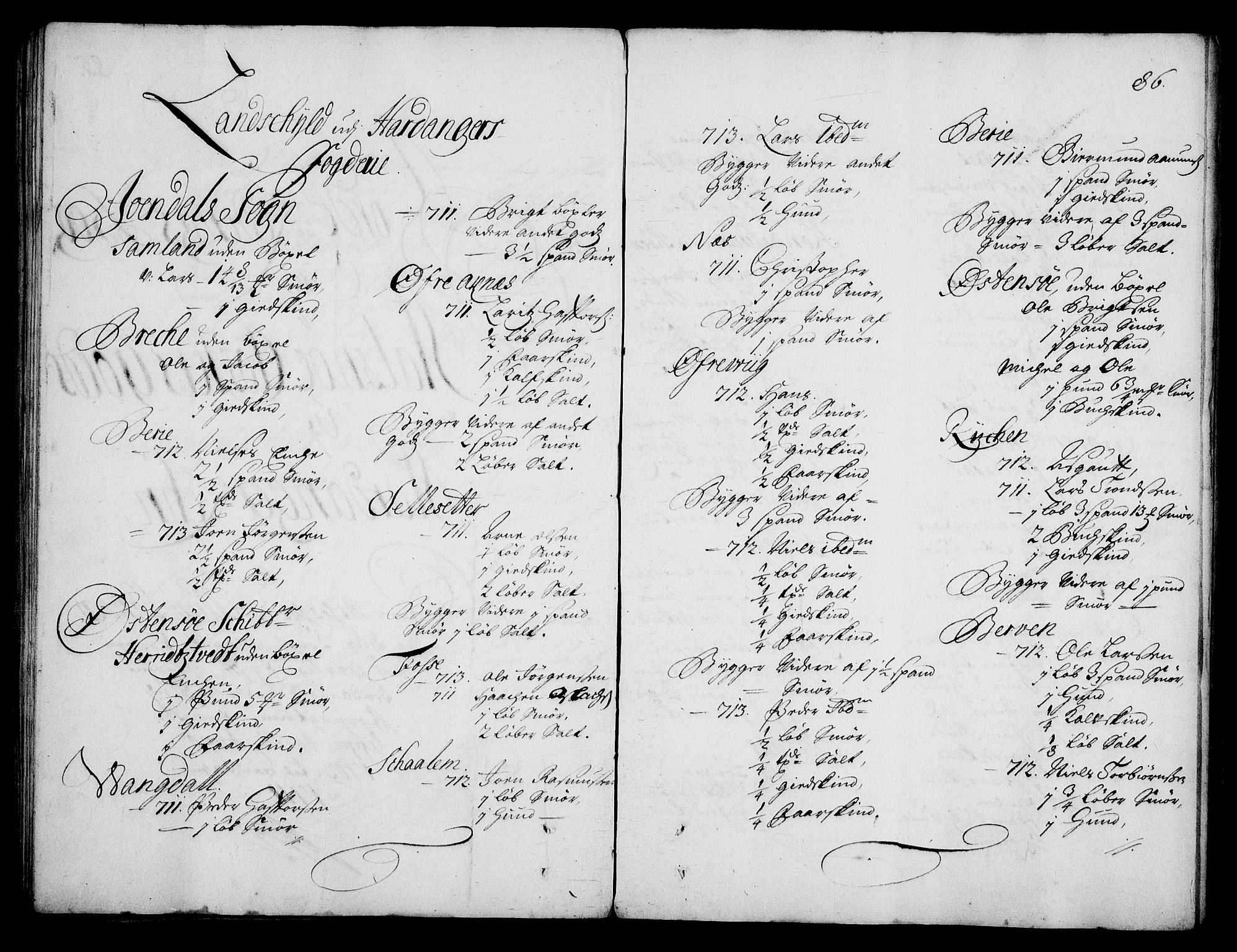 RA, Rentekammeret inntil 1814, Realistisk ordnet avdeling, On/L0003: [Jj 4]: Kommisjonsforretning over Vilhelm Hanssøns forpaktning av Halsnøy klosters gods, 1712-1722, s. 85b-86a