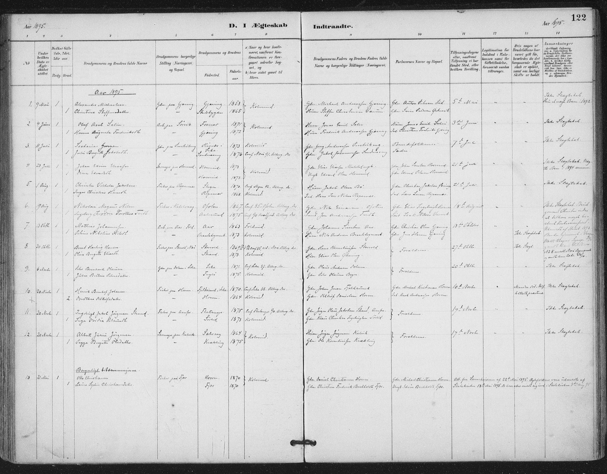 SAT, Ministerialprotokoller, klokkerbøker og fødselsregistre - Nord-Trøndelag, 780/L0644: Ministerialbok nr. 780A08, 1886-1903, s. 122