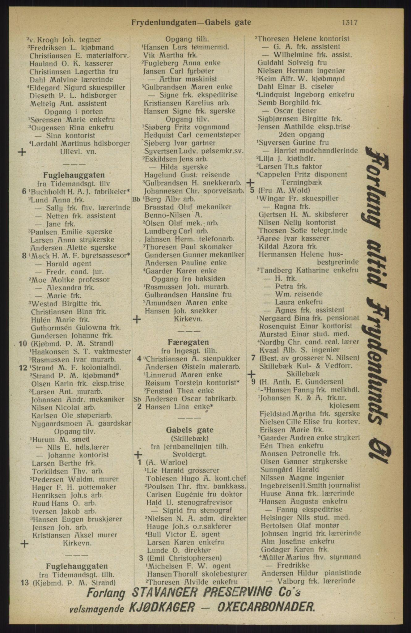 RA, Kristiania adressebok (publikasjon)*, 1914, s. 1317