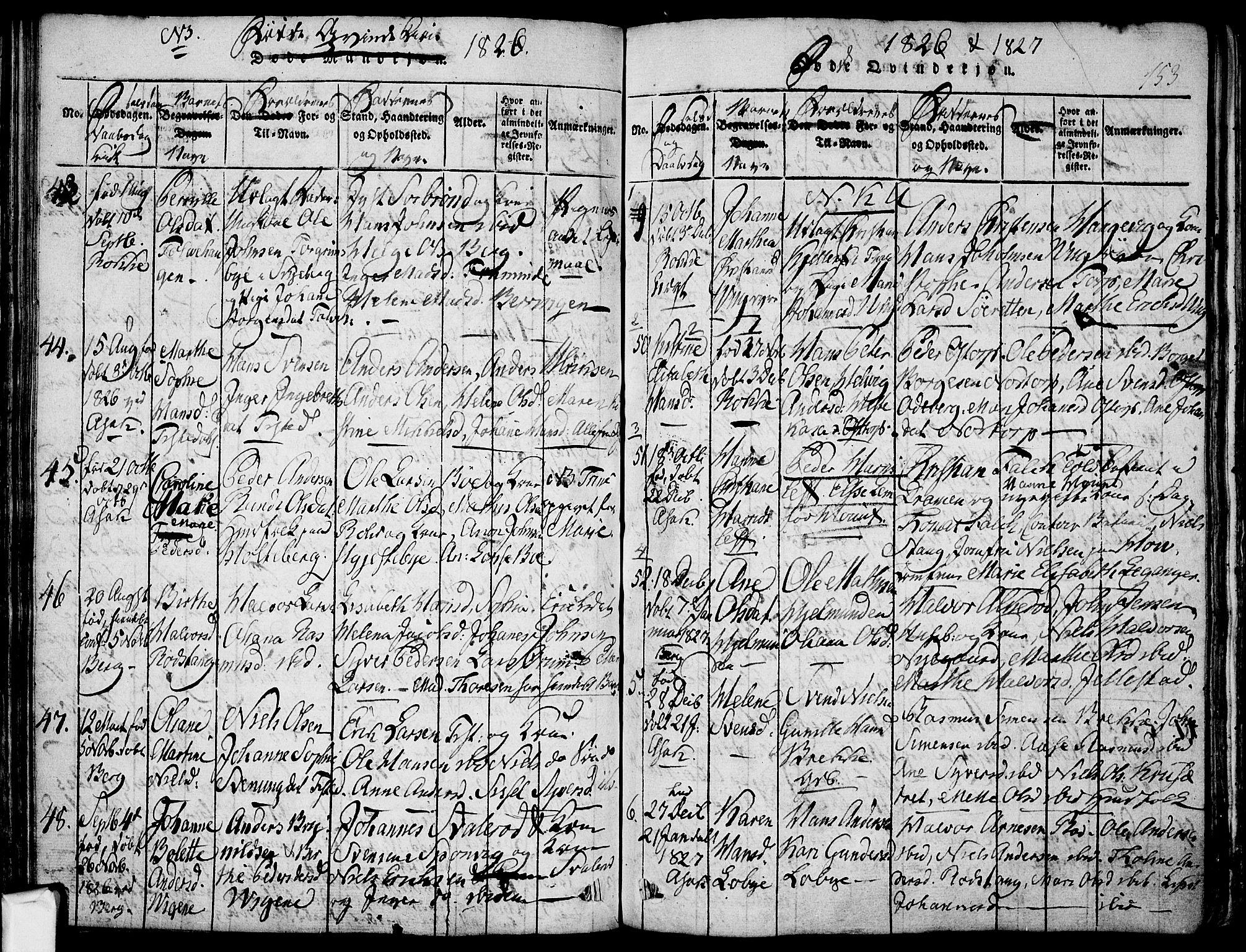 SAO, Berg prestekontor Kirkebøker, F/Fa/L0002: Ministerialbok nr. I 2, 1815-1831, s. 153