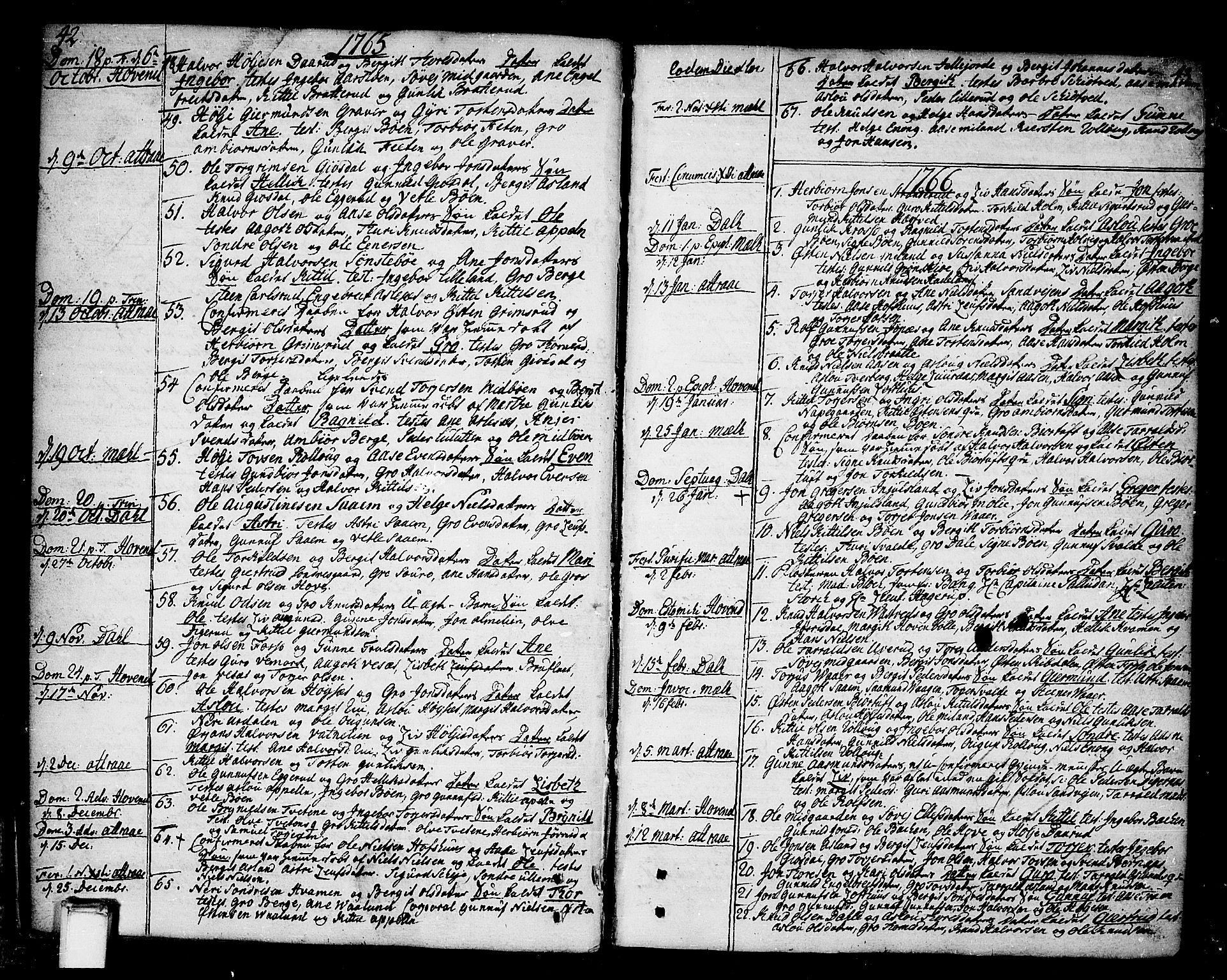 SAKO, Tinn kirkebøker, F/Fa/L0002: Ministerialbok nr. I 2, 1757-1810, s. 42-43