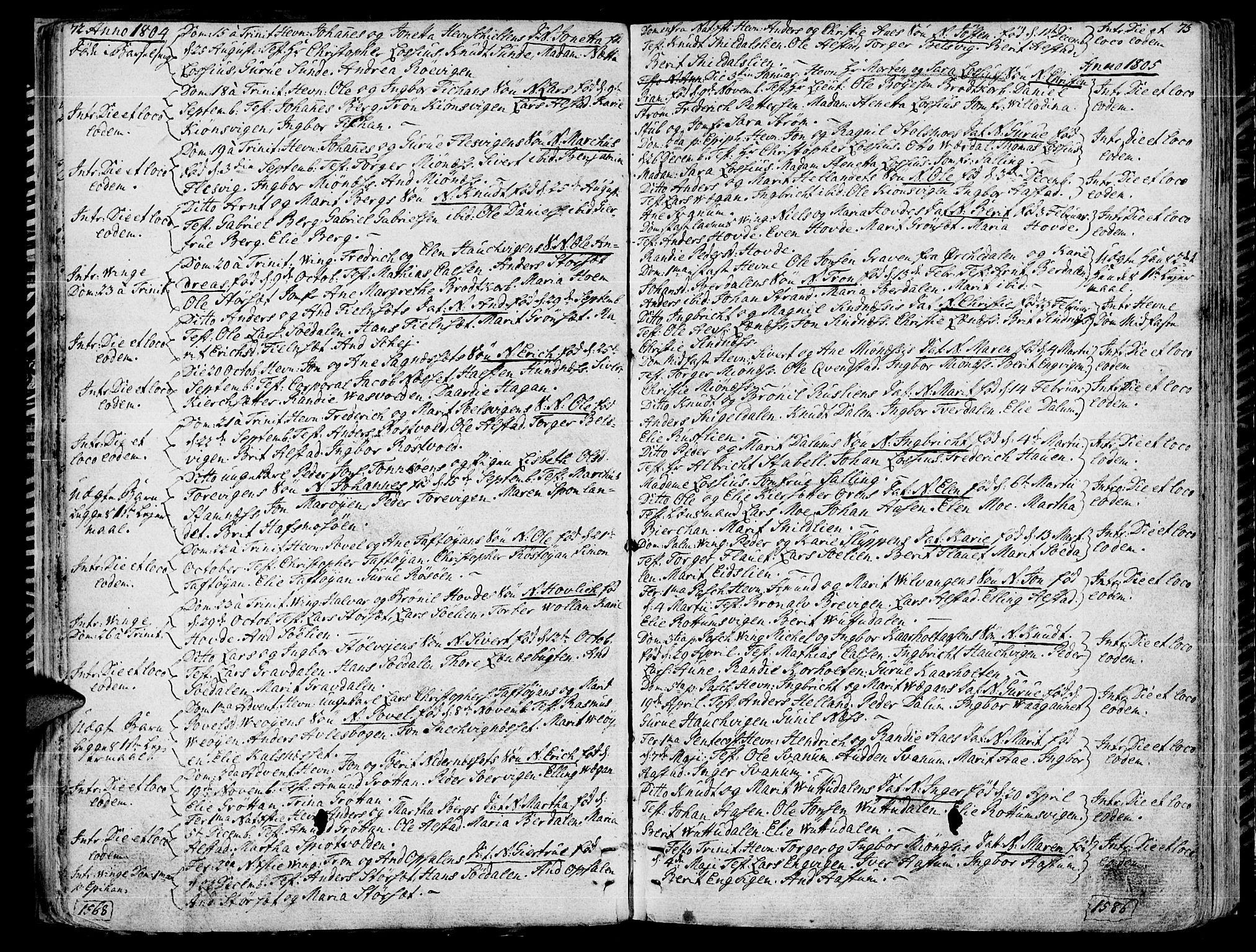 SAT, Ministerialprotokoller, klokkerbøker og fødselsregistre - Sør-Trøndelag, 630/L0490: Ministerialbok nr. 630A03, 1795-1818, s. 72-73