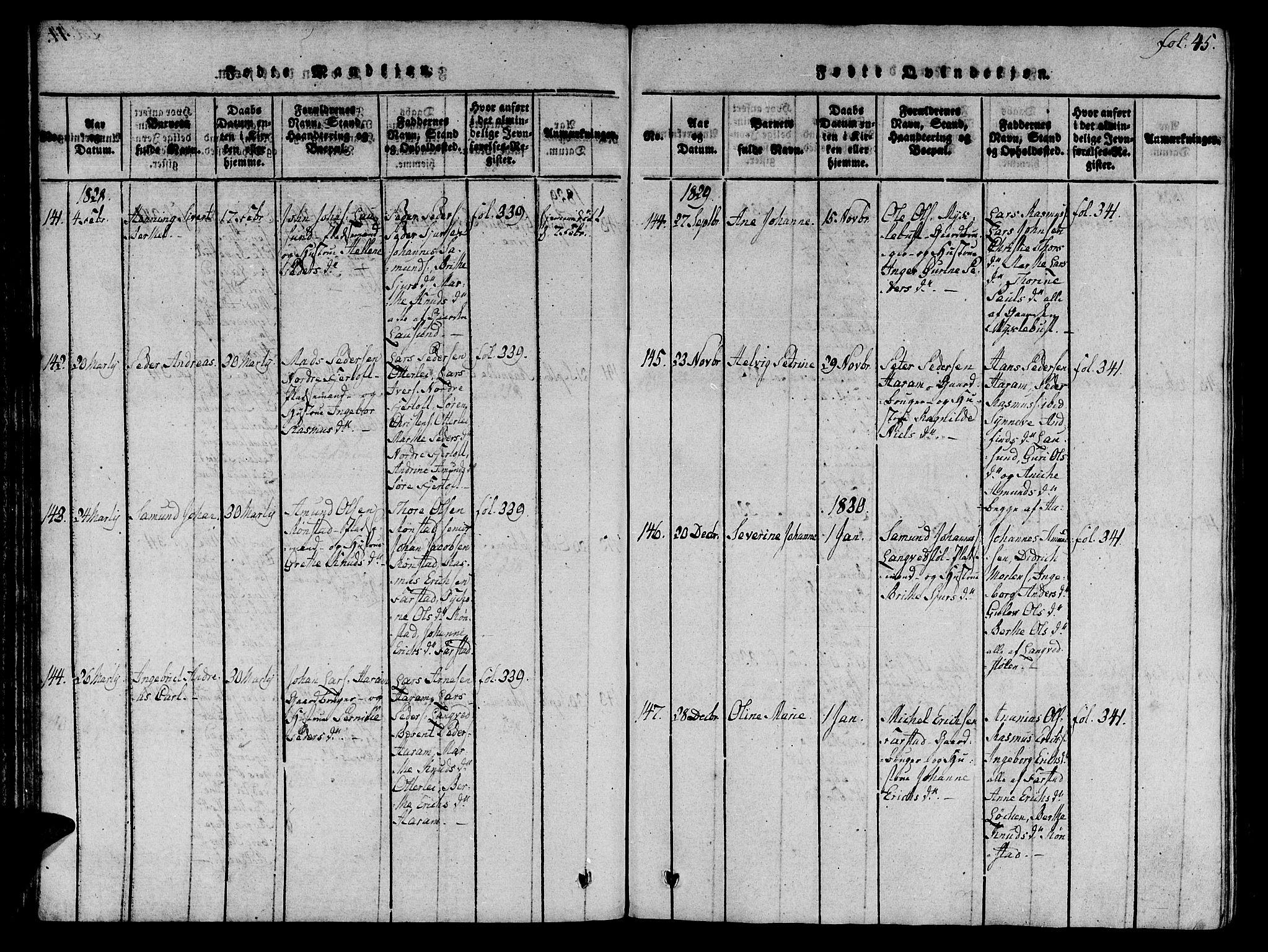 SAT, Ministerialprotokoller, klokkerbøker og fødselsregistre - Møre og Romsdal, 536/L0495: Ministerialbok nr. 536A04, 1818-1847, s. 45