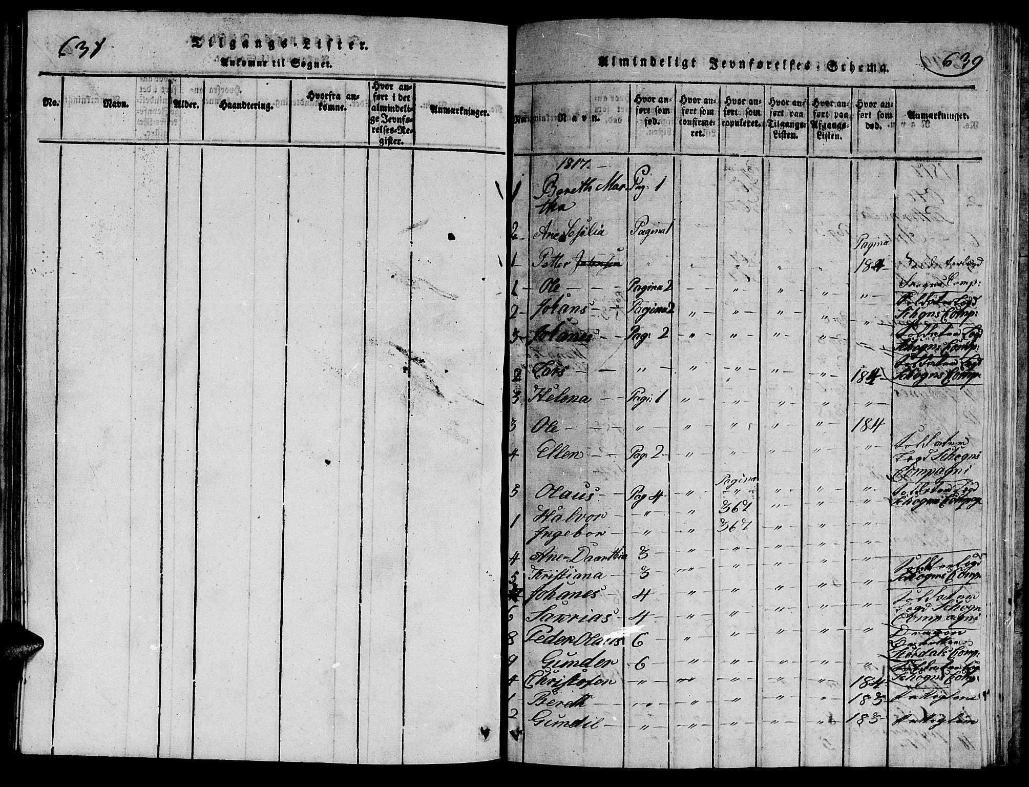 SAT, Ministerialprotokoller, klokkerbøker og fødselsregistre - Nord-Trøndelag, 714/L0132: Klokkerbok nr. 714C01, 1817-1824, s. 637-639